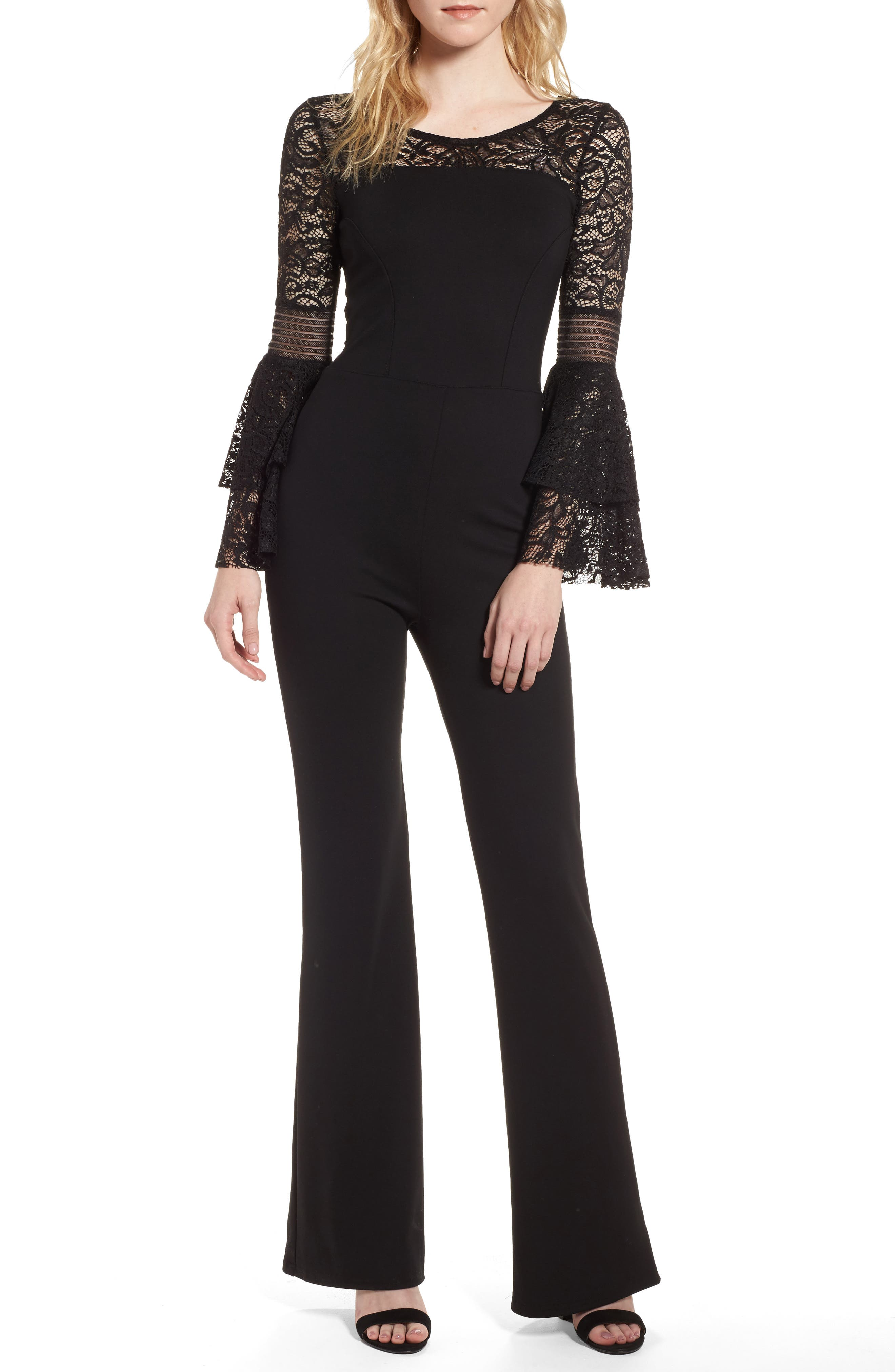 Floetry Lace Bell Sleeve Romper,                         Main,                         color, Black