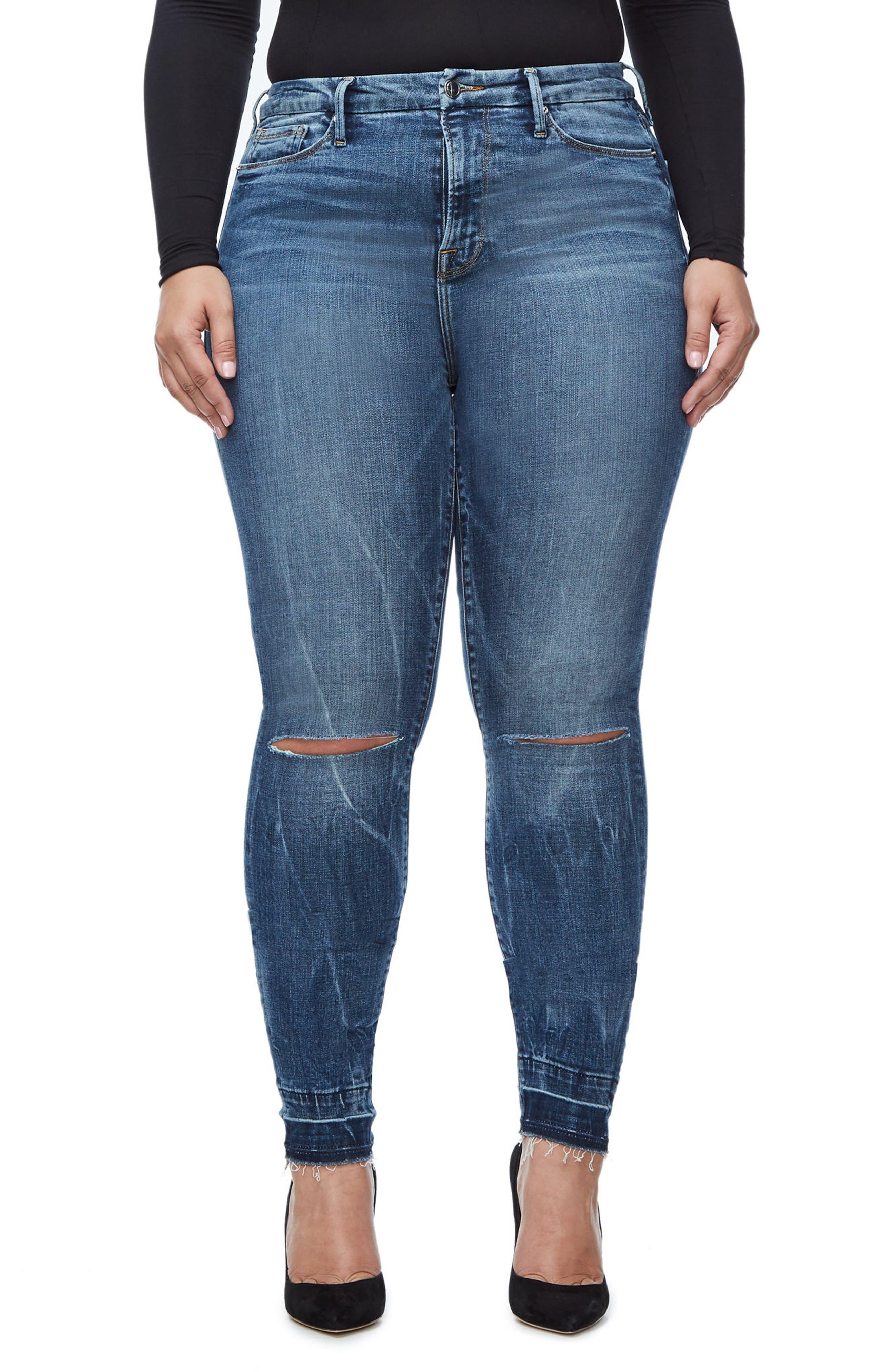 Good Legs High Waist Skinny Jeans,                             Alternate thumbnail 4, color,                             Blue 097