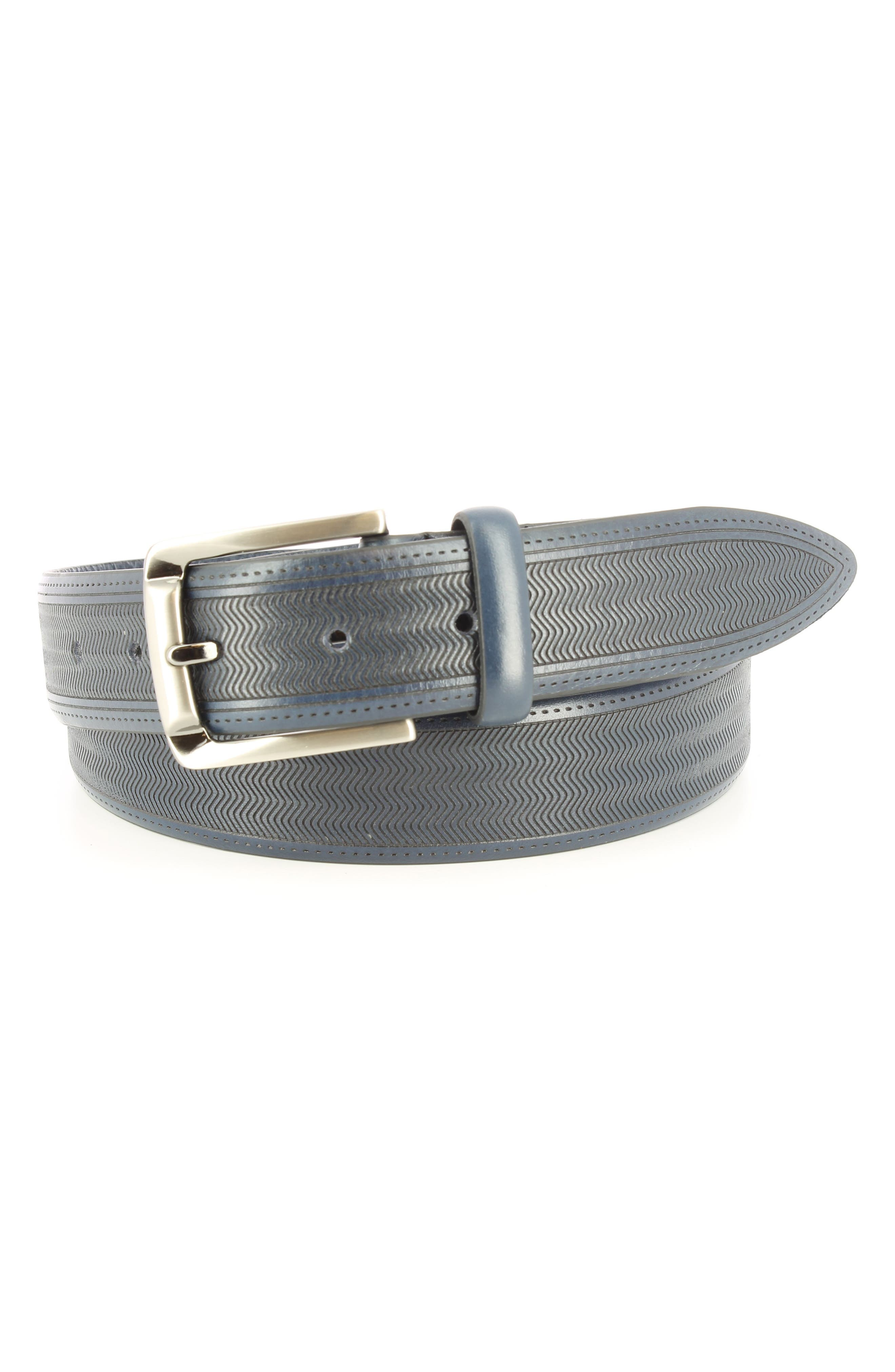 Raspail Leather Belt,                         Main,                         color, Navy
