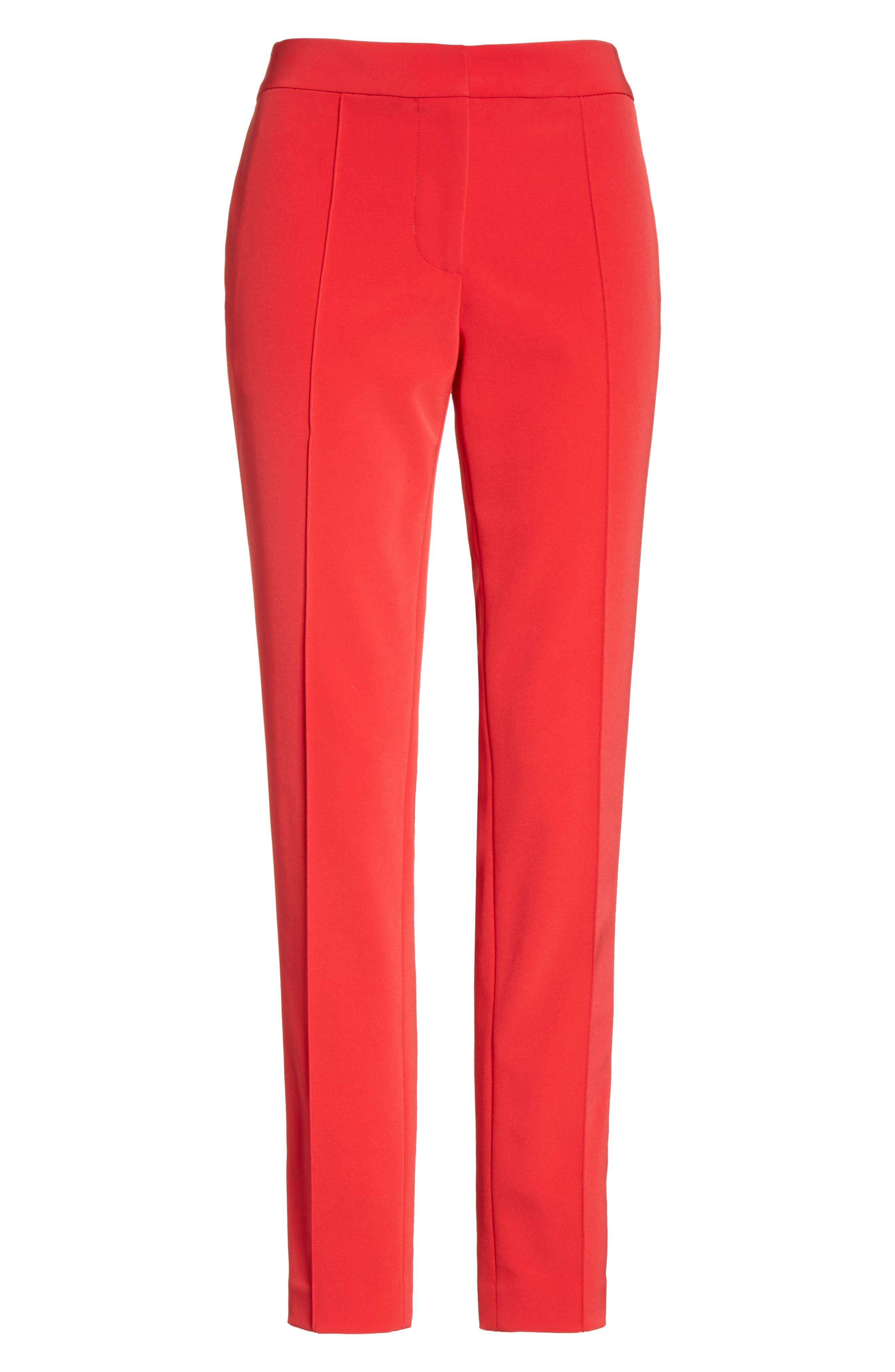 Crop Bi-Stretch Pants,                             Alternate thumbnail 6, color,                             Red