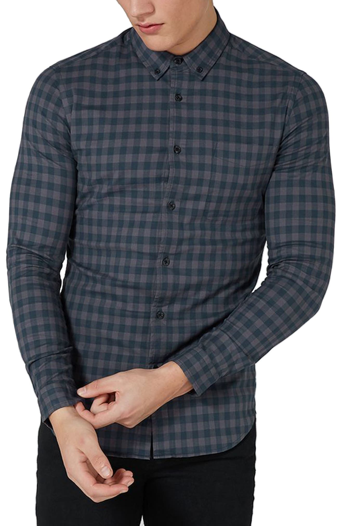 Muscle Fit Gingham Shirt,                         Main,                         color, Navy Blue Multi