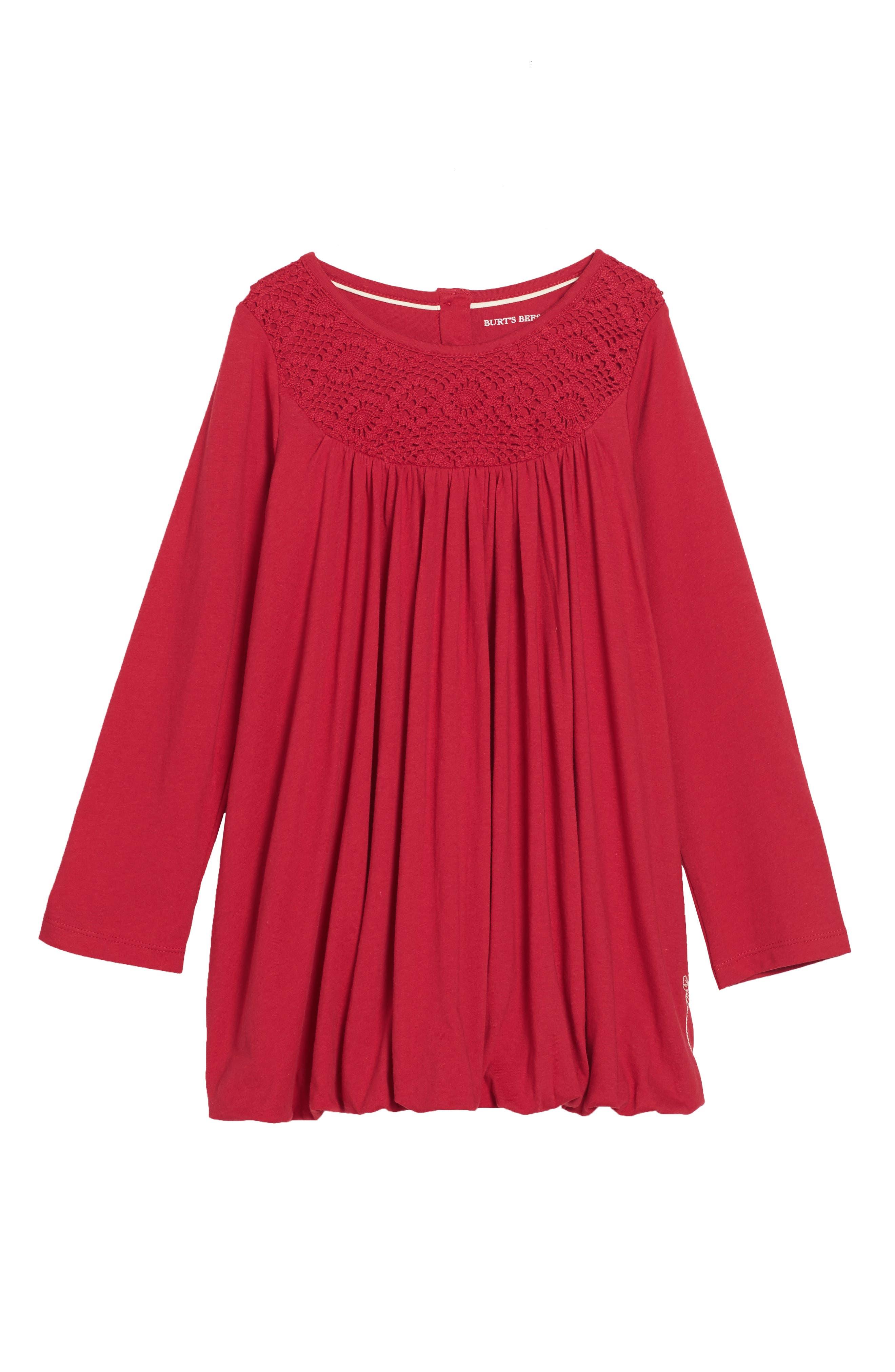 Organic Cotton Bubble Dress,                         Main,                         color, Cranberry
