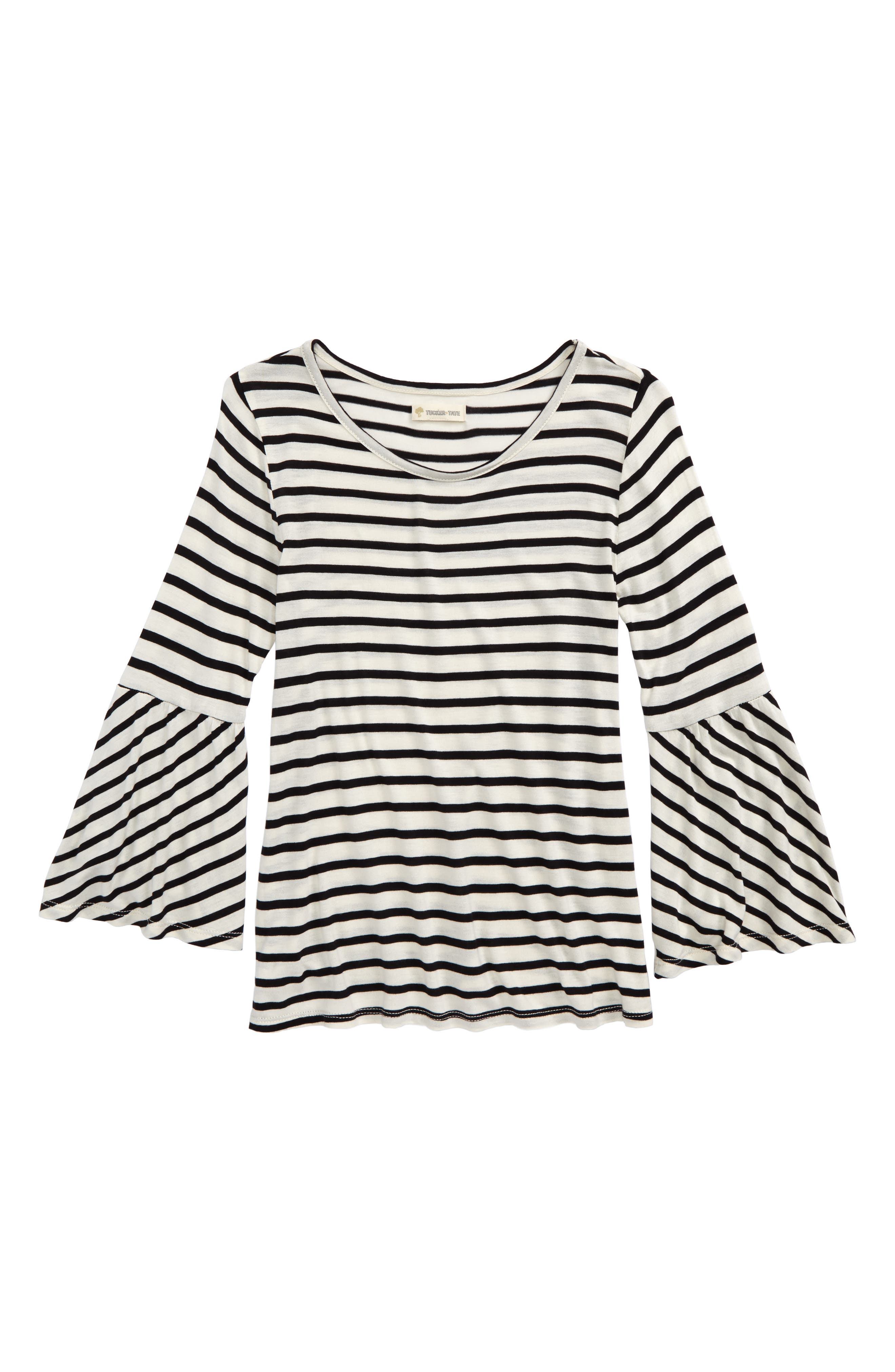 Bell Sleeve Tee,                             Main thumbnail 1, color,                             Ivory Egret- Black Stripe