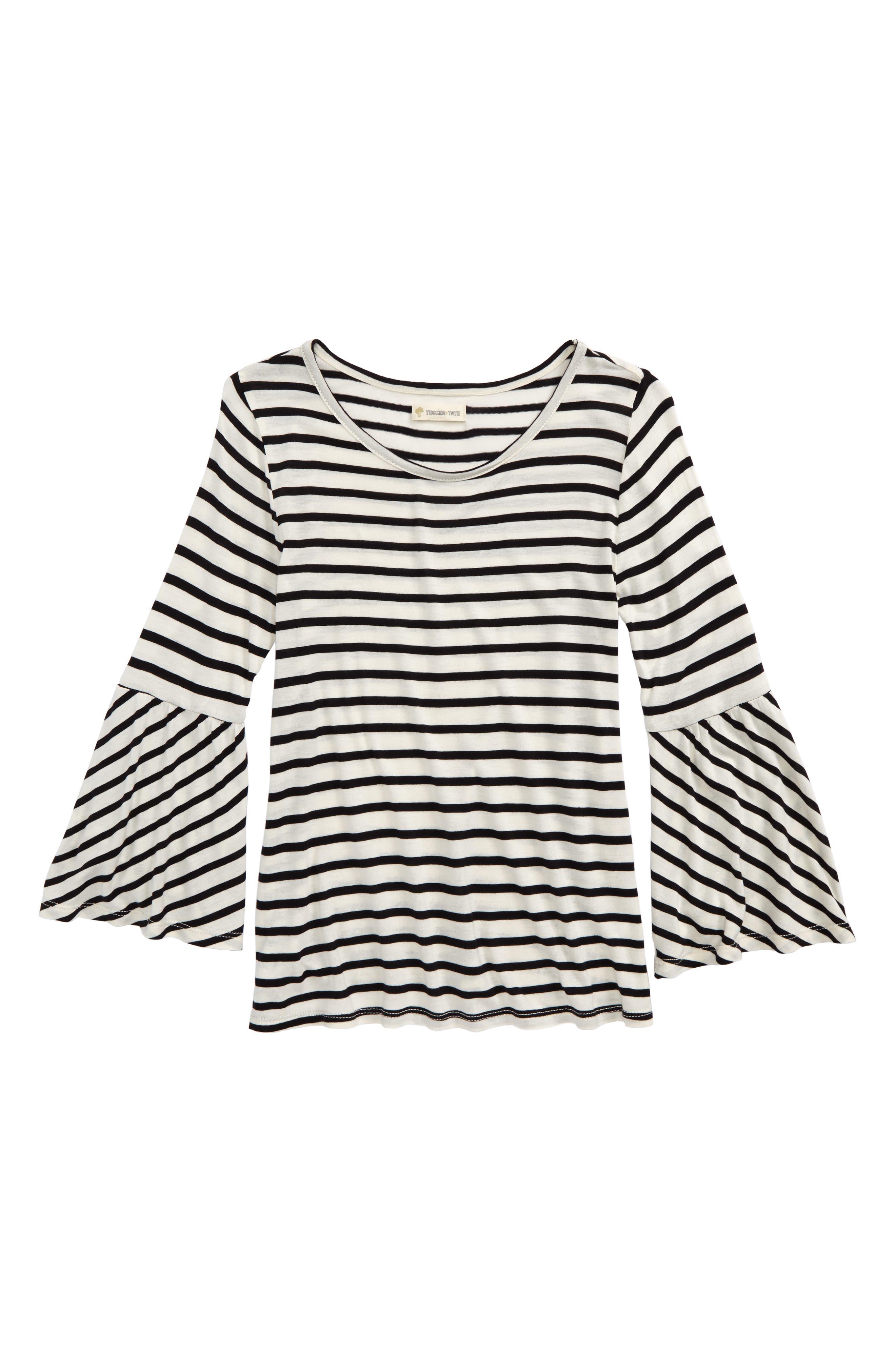 Bell Sleeve Tee,                         Main,                         color, Ivory Egret- Black Stripe