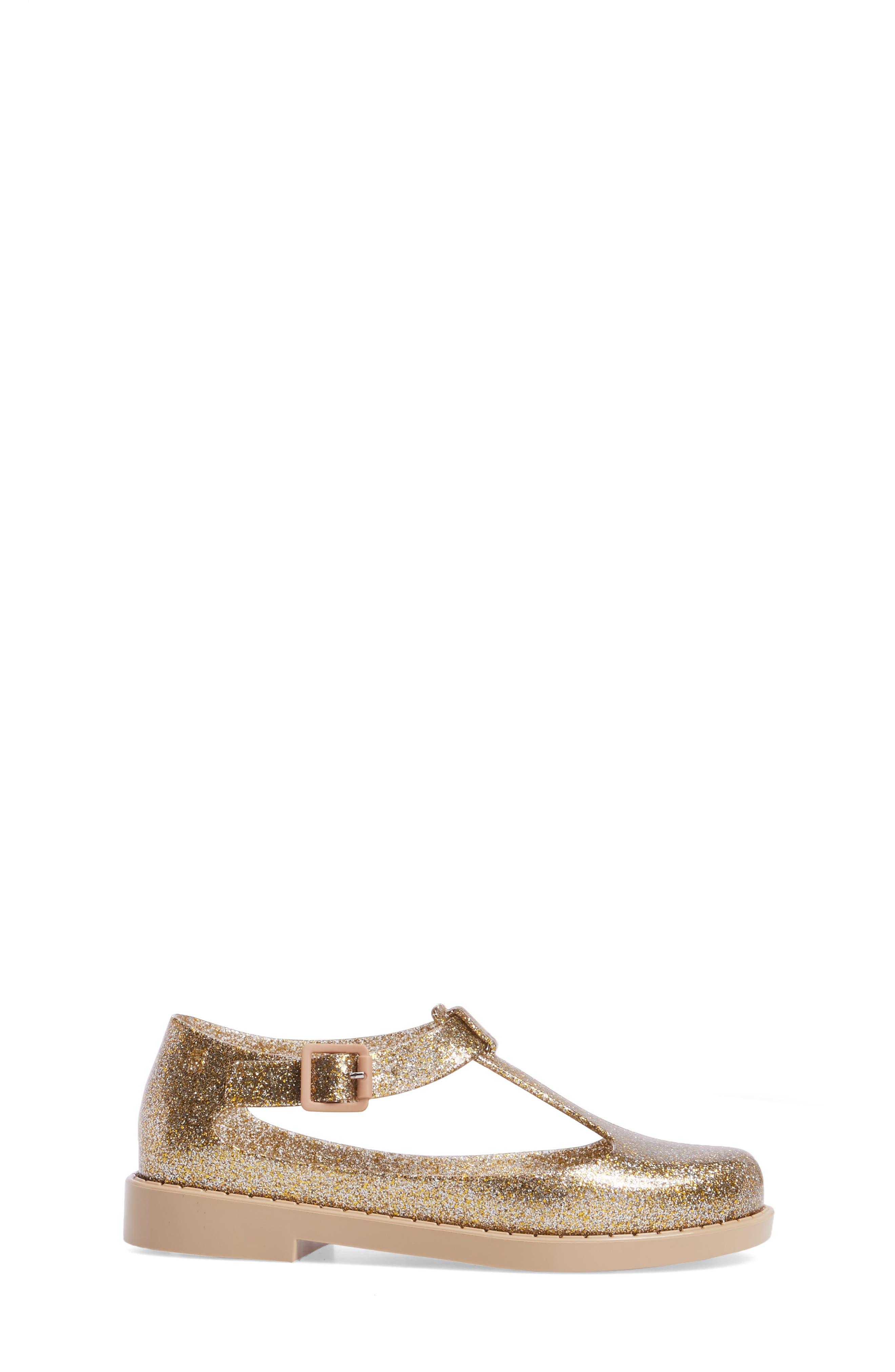 Kazakova T-Strap Flat,                             Alternate thumbnail 3, color,                             Gold Glass Glitter
