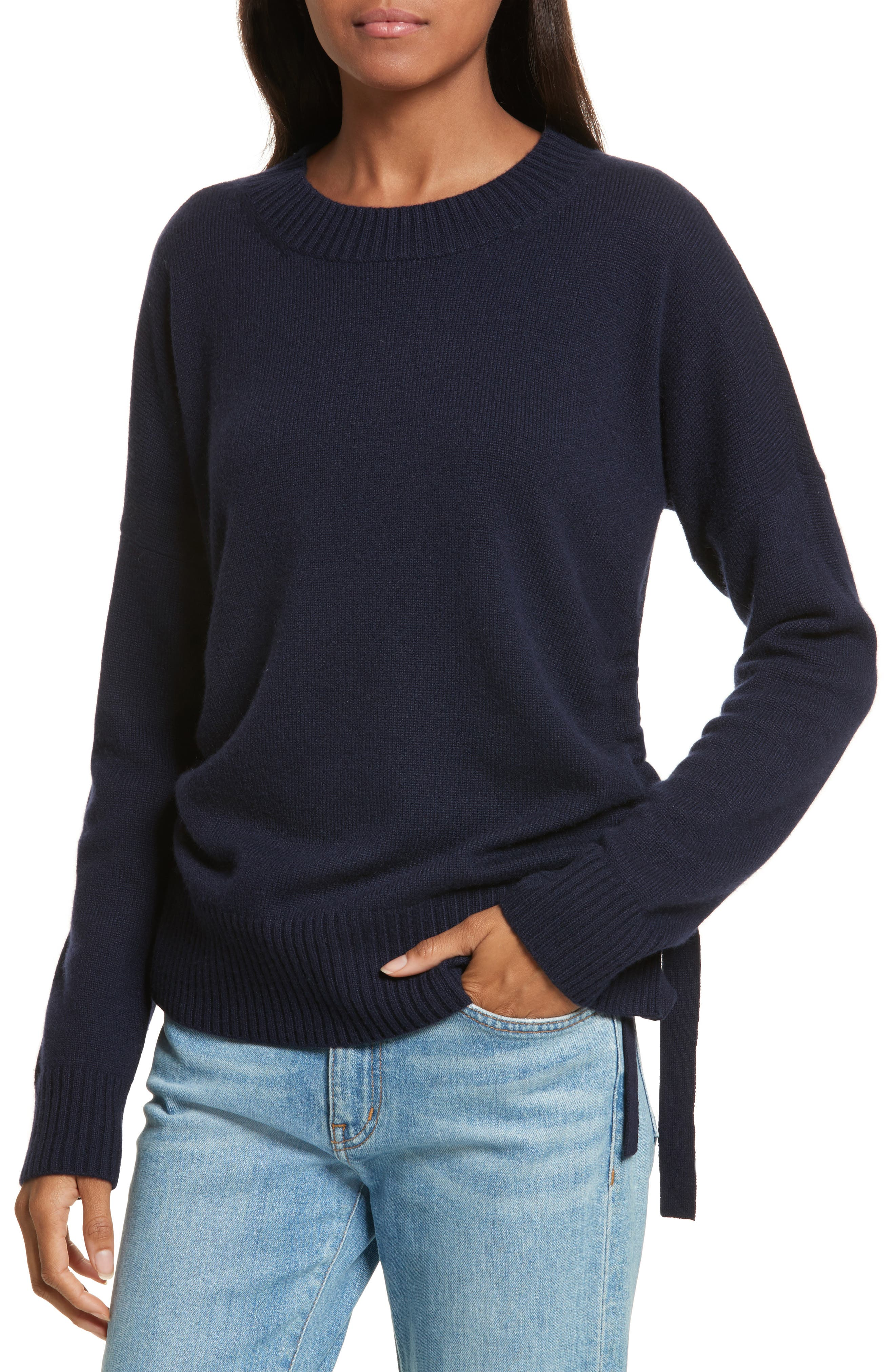 Side Tie Cashmere Sweater,                         Main,                         color, Midnight