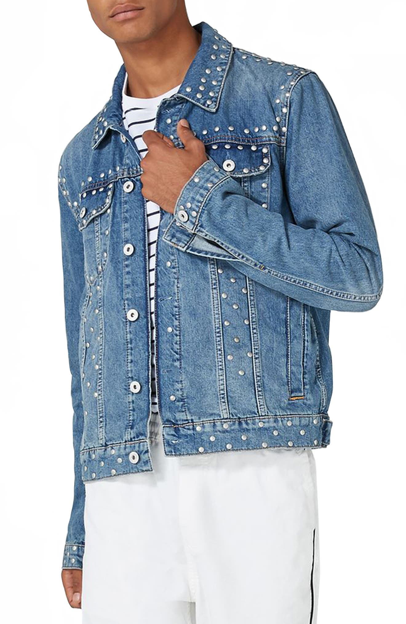 Studded Denim Jacket,                             Main thumbnail 1, color,                             Light Blue