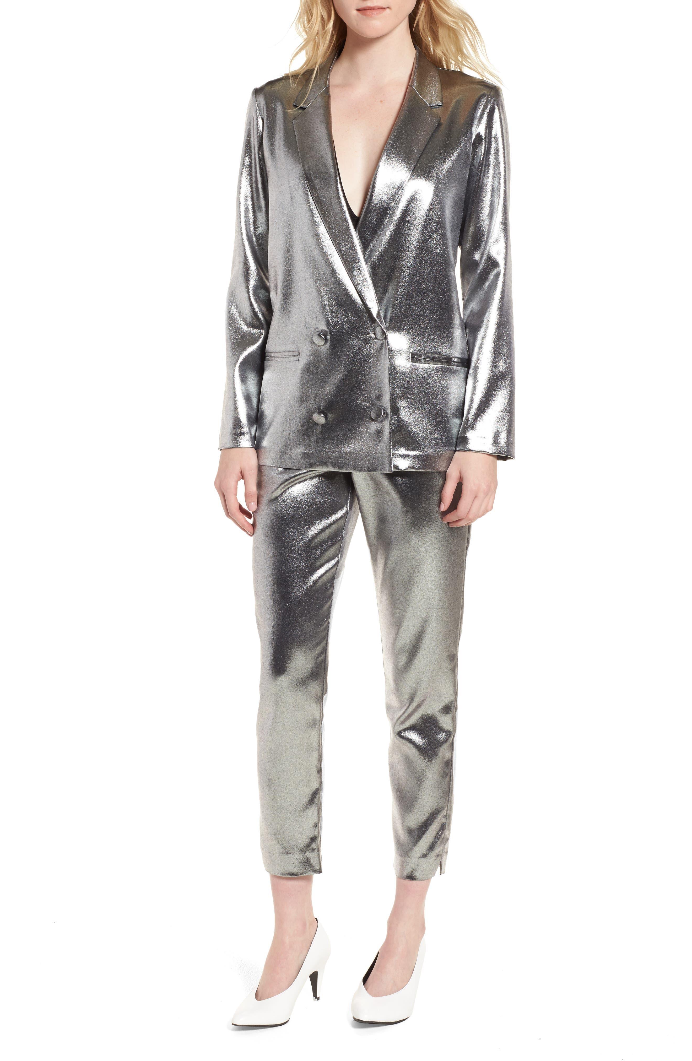 Metallic Suit Trousers,                             Alternate thumbnail 2, color,                             Silver
