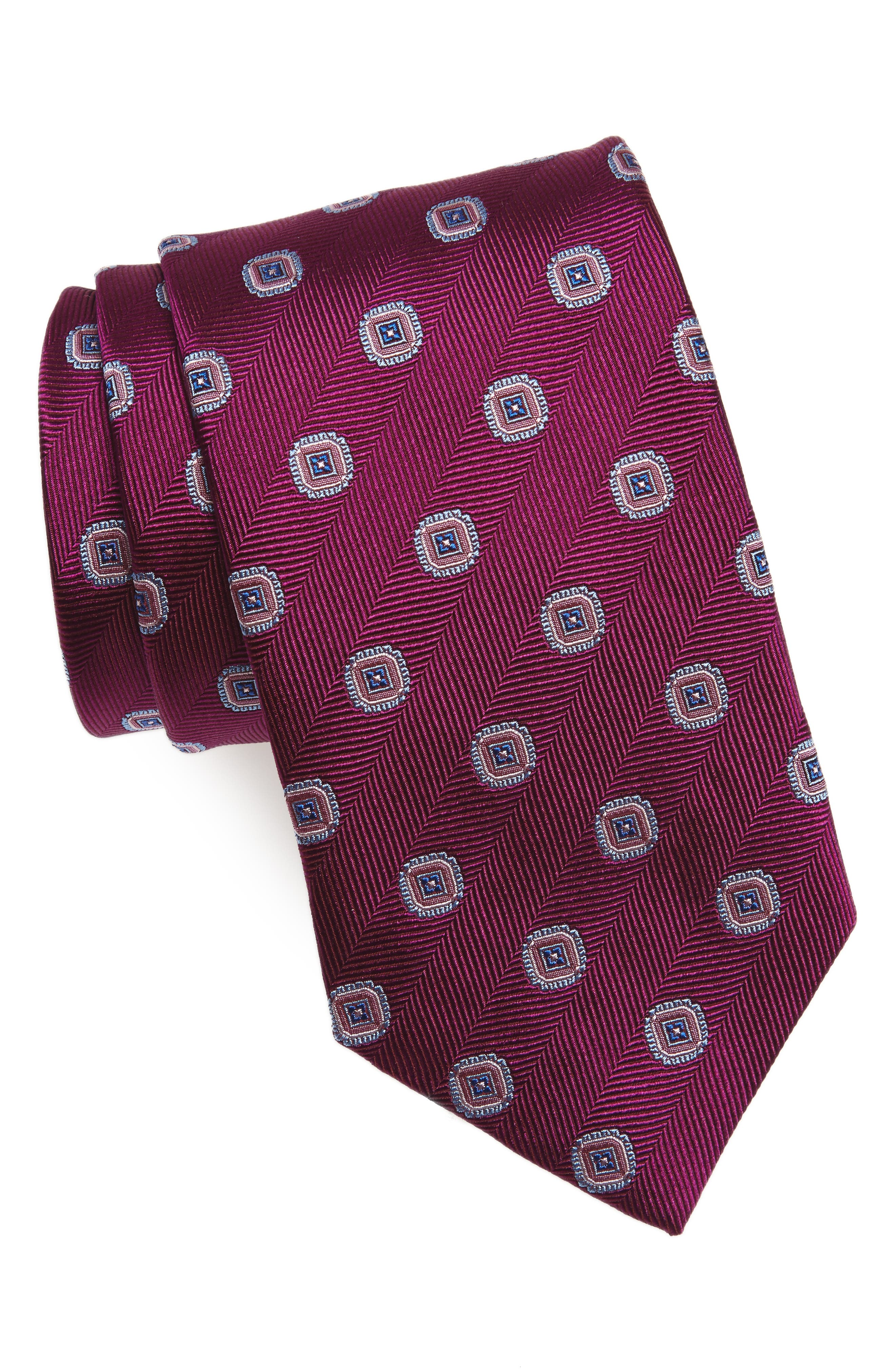Medallion Silk Tie,                         Main,                         color, Berry