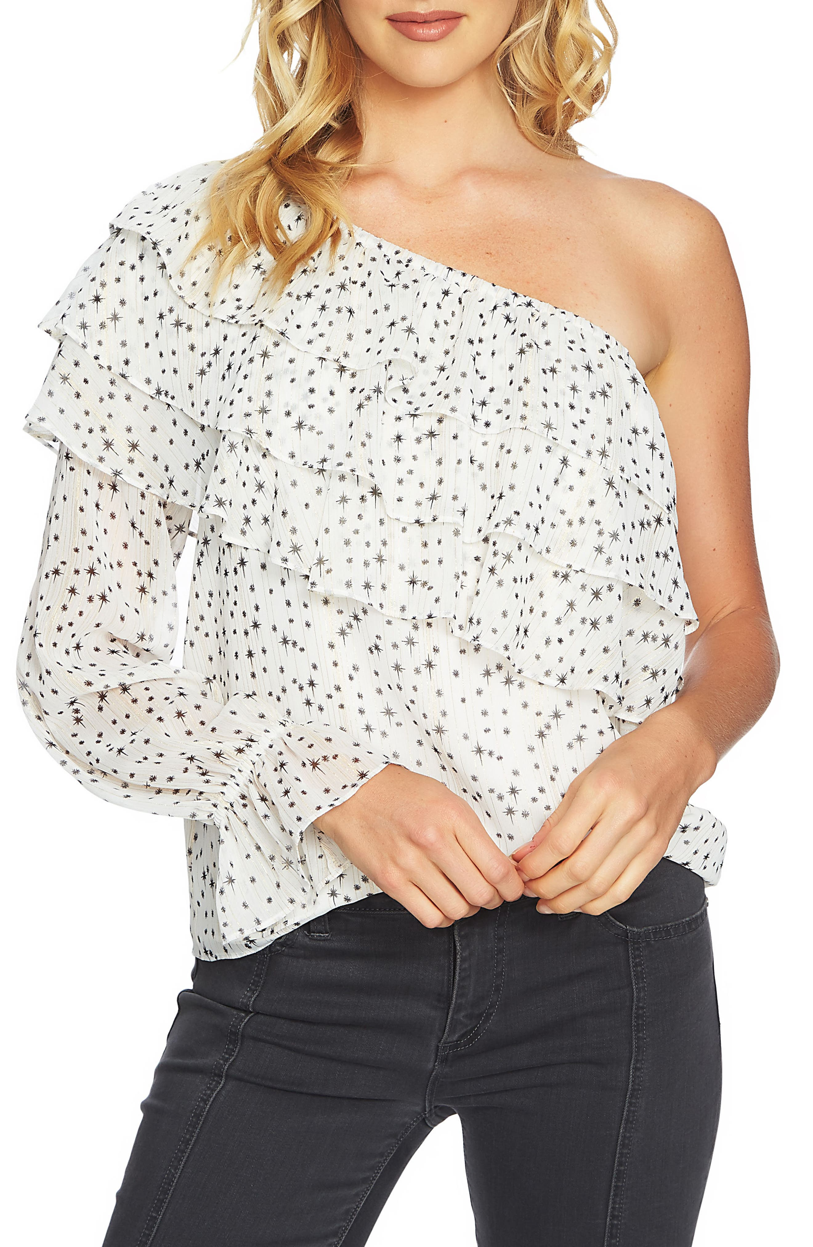 Main Image - 1.STATE One-Shoulder Tiered Blouse