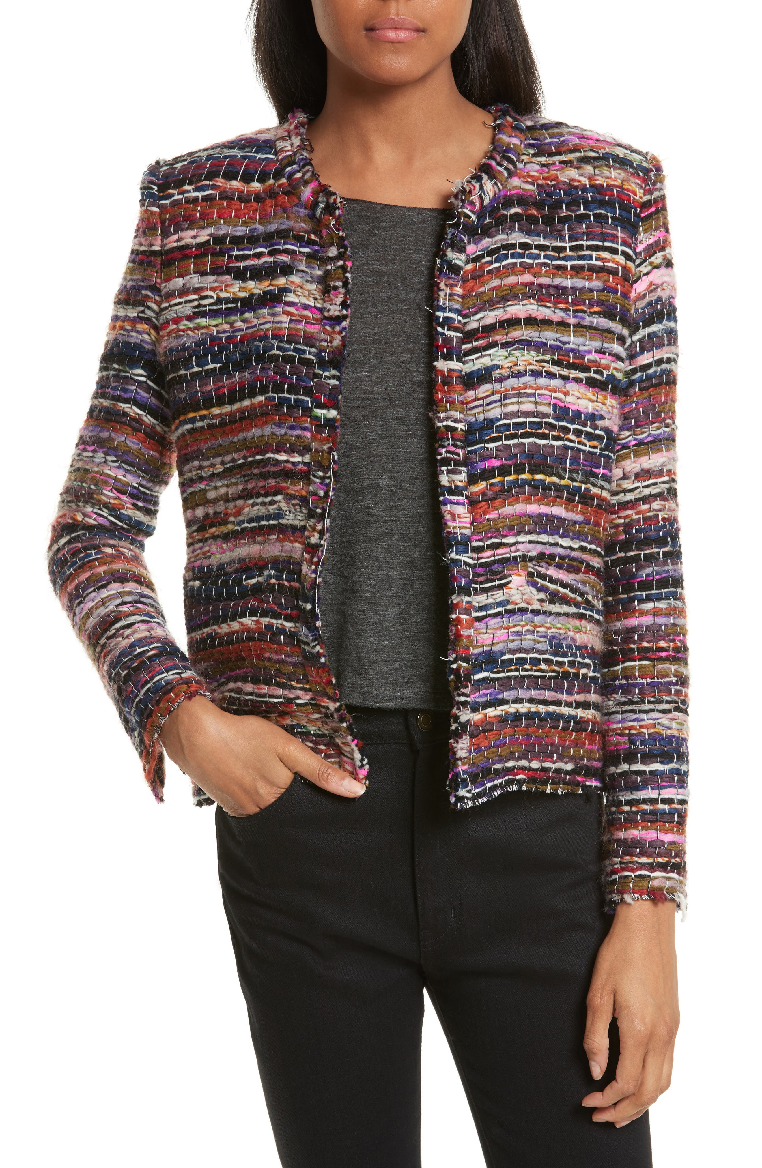 Namanta Tweed Jacket,                         Main,                         color, Mulberry