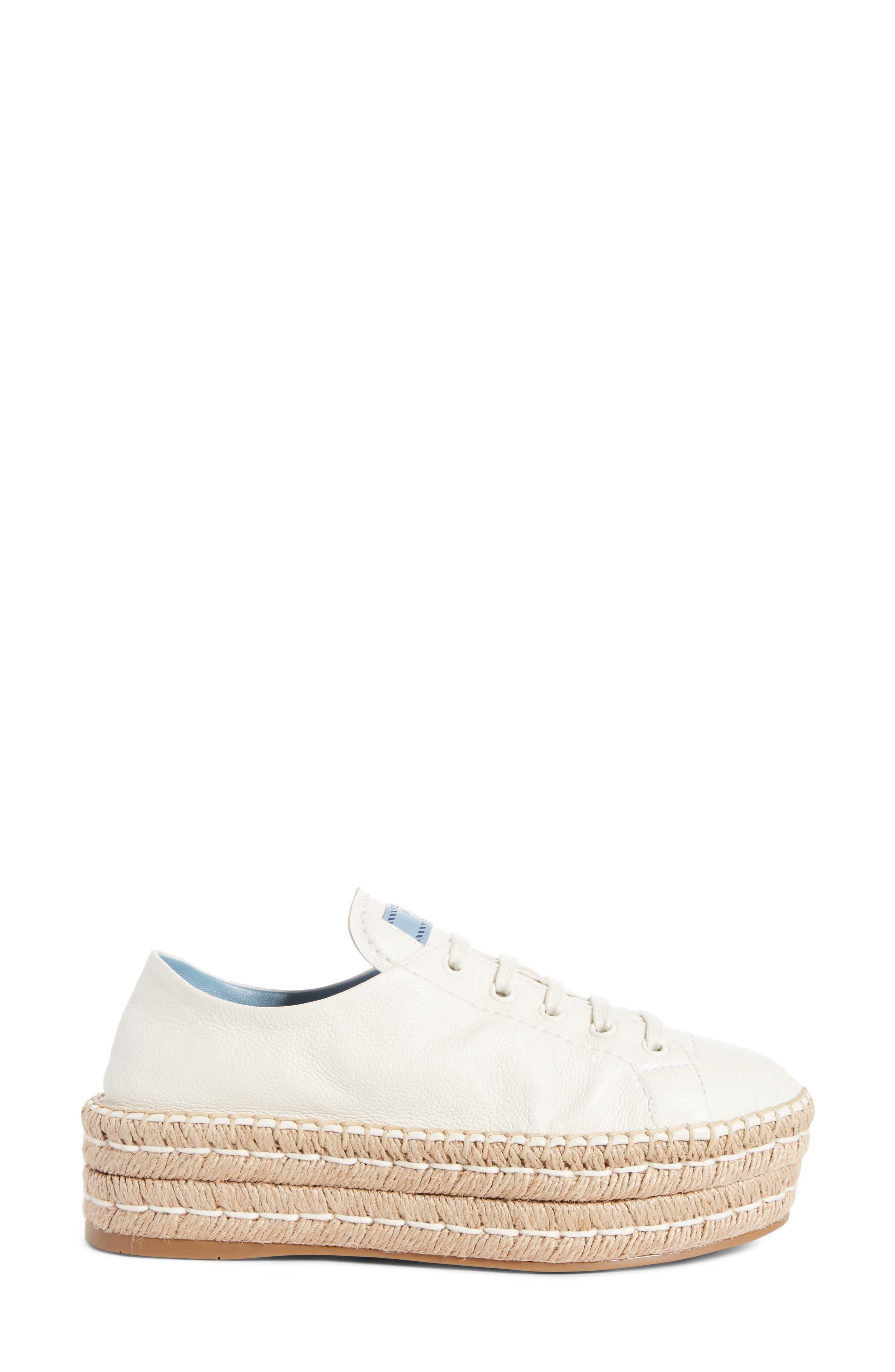 Flatform Espadrille Sneaker,                             Alternate thumbnail 3, color,                             White