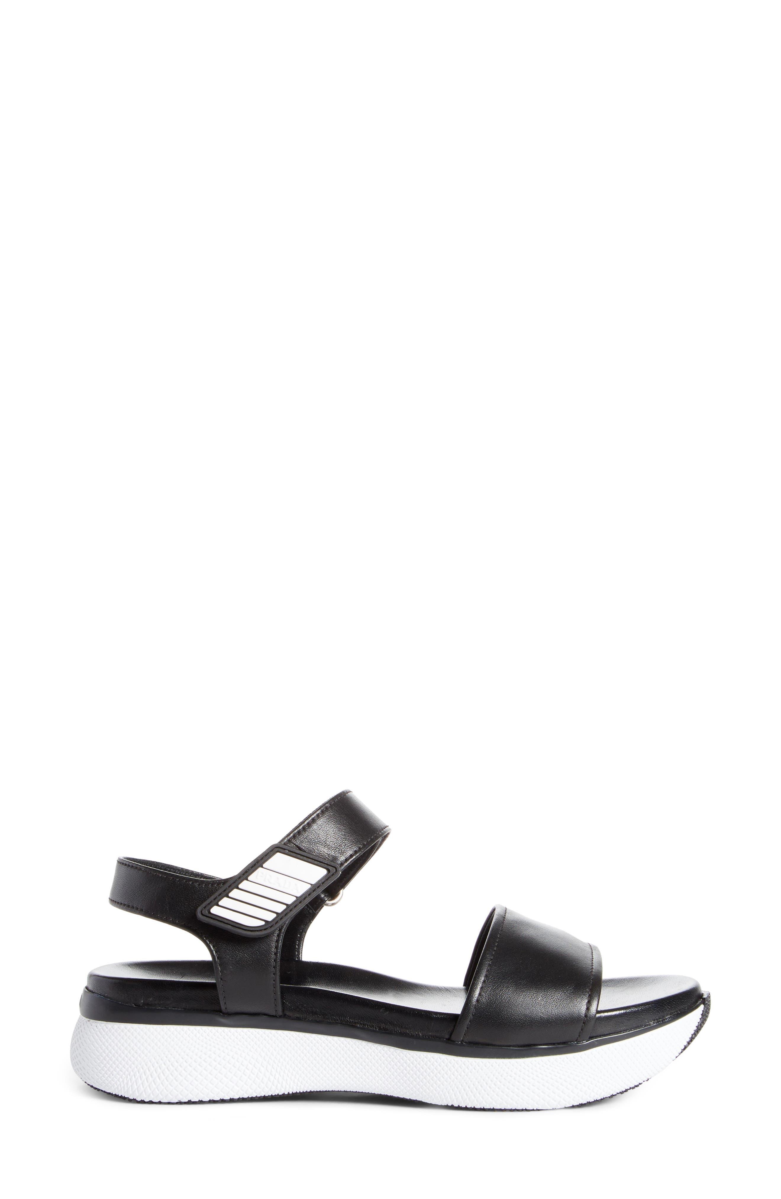 Platform Sandal,                             Alternate thumbnail 3, color,                             Black/ White