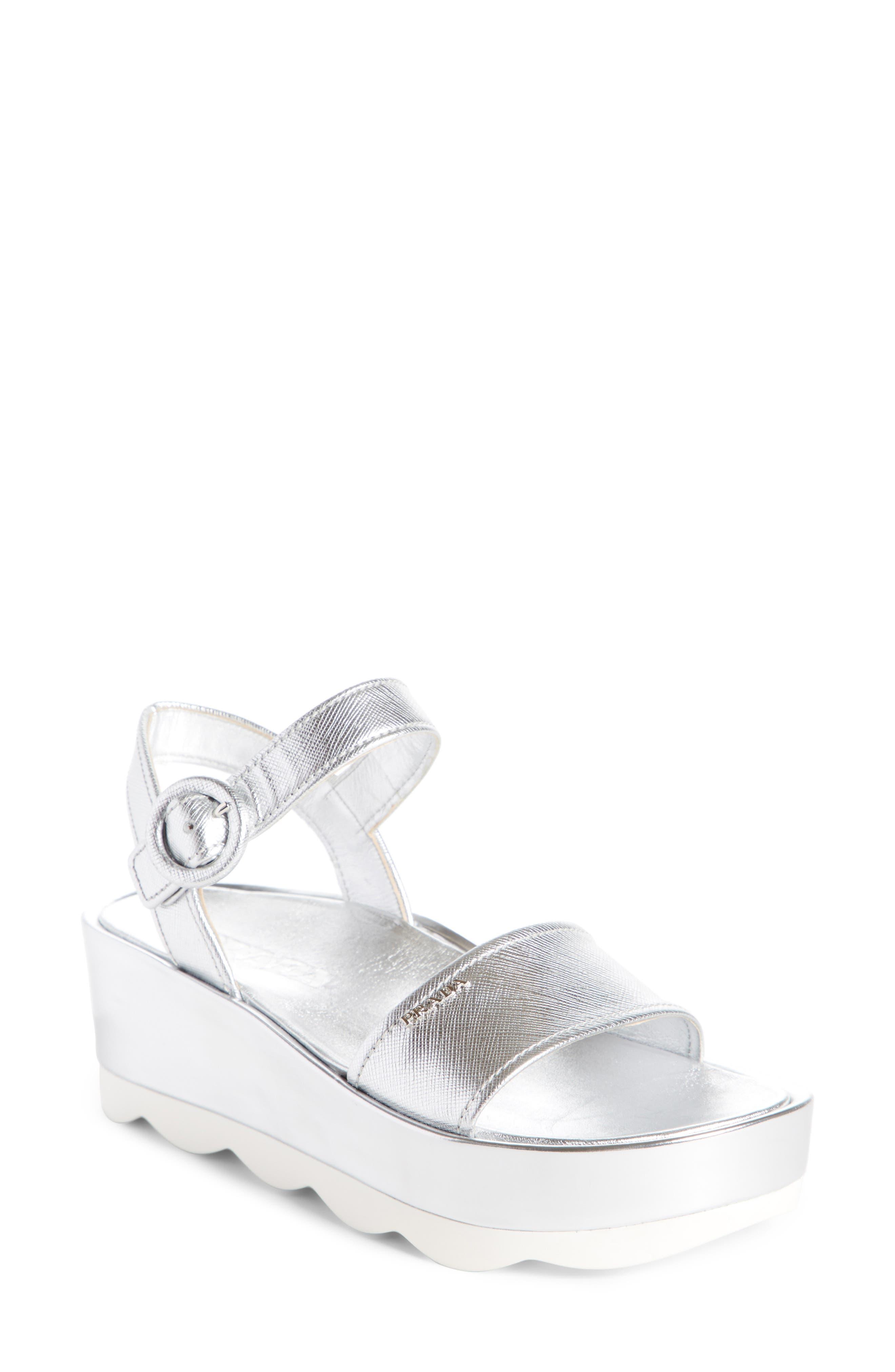 Alternate Image 1 Selected - Prada Ankle Strap Platform Sandal (Women)