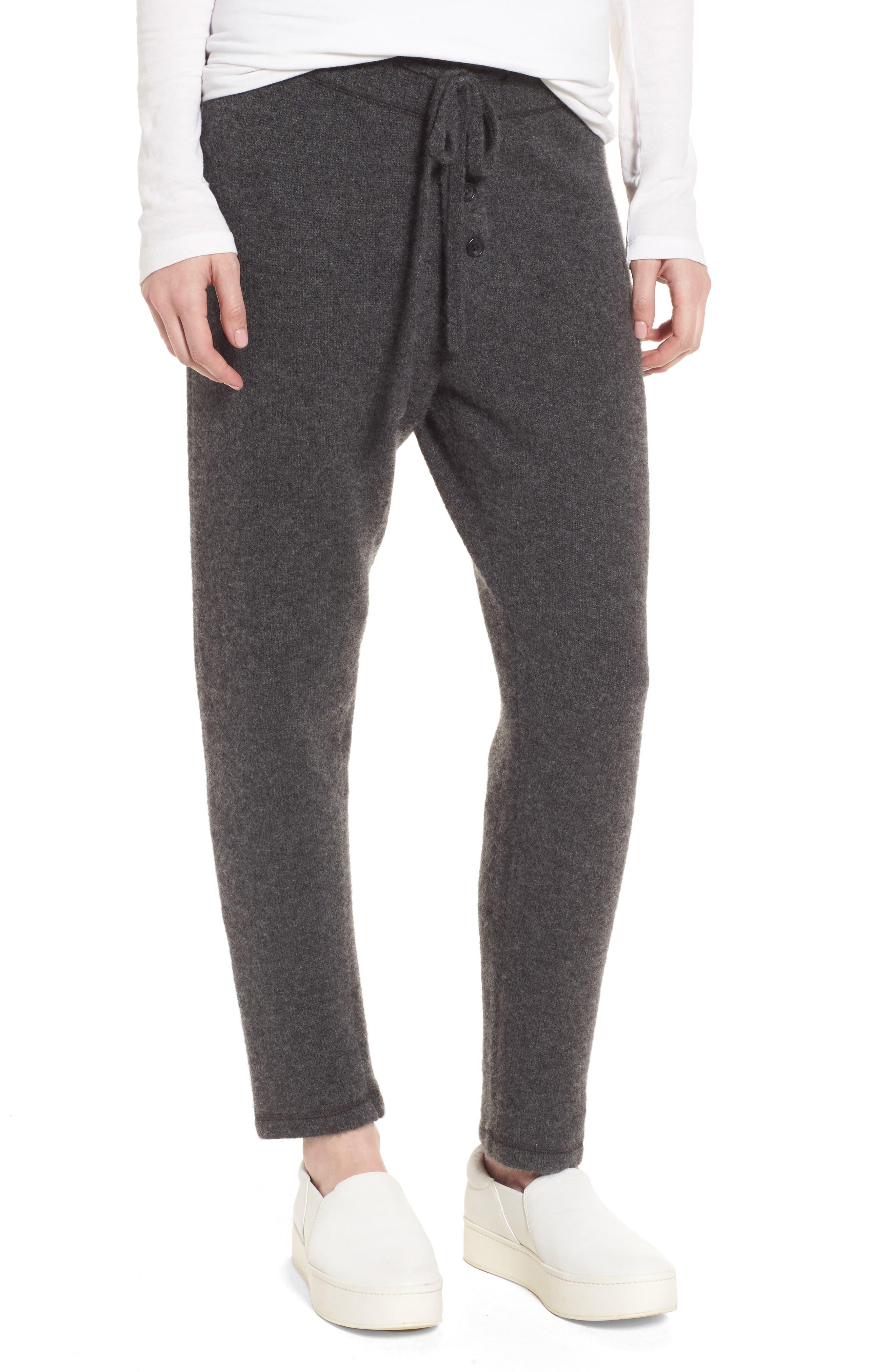 Brushed Cashmere Sweatpants,                             Main thumbnail 1, color,                             Charcoal