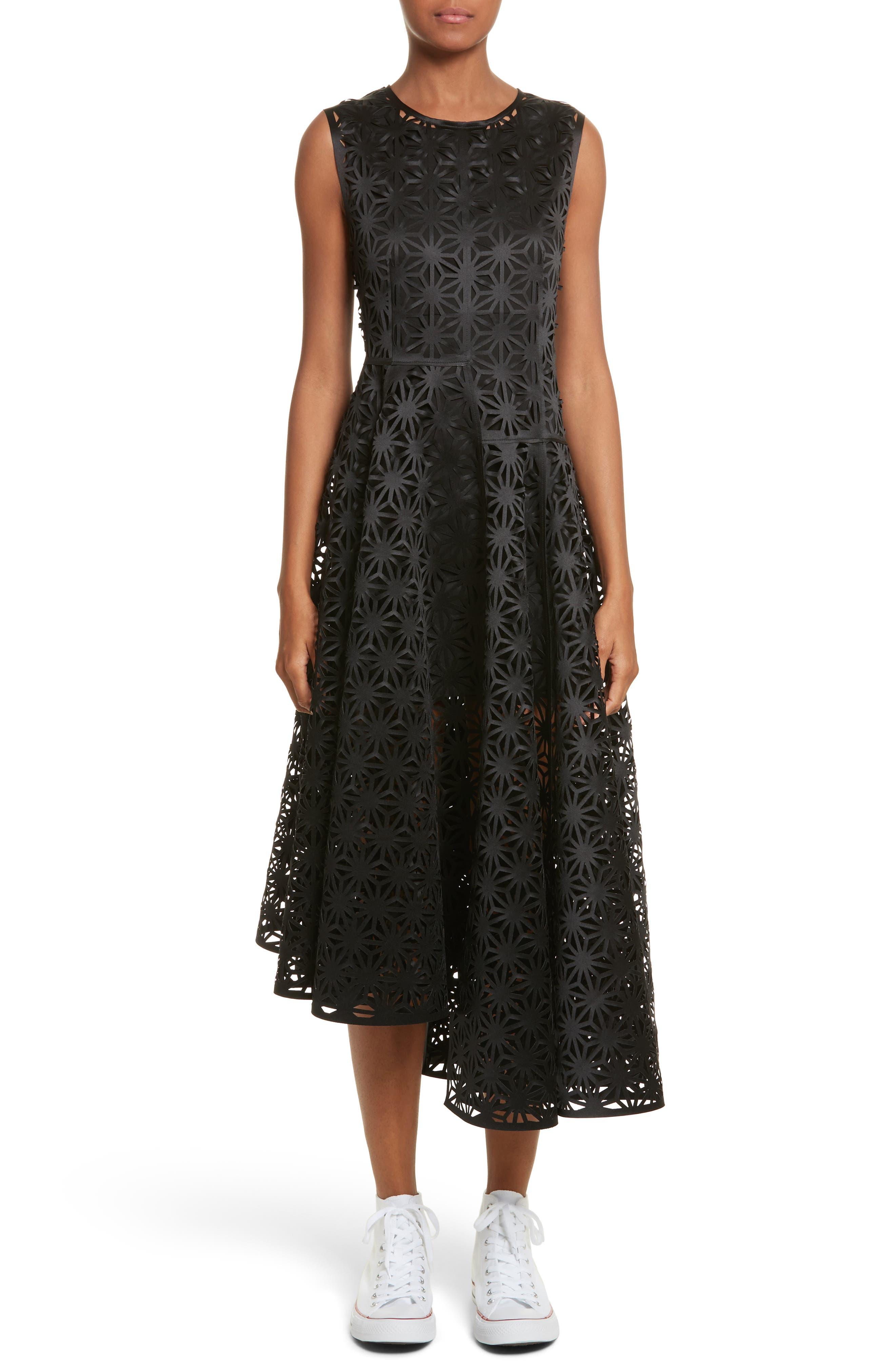PASKAL Asymmetric Laser Cut Sleeveless Dress