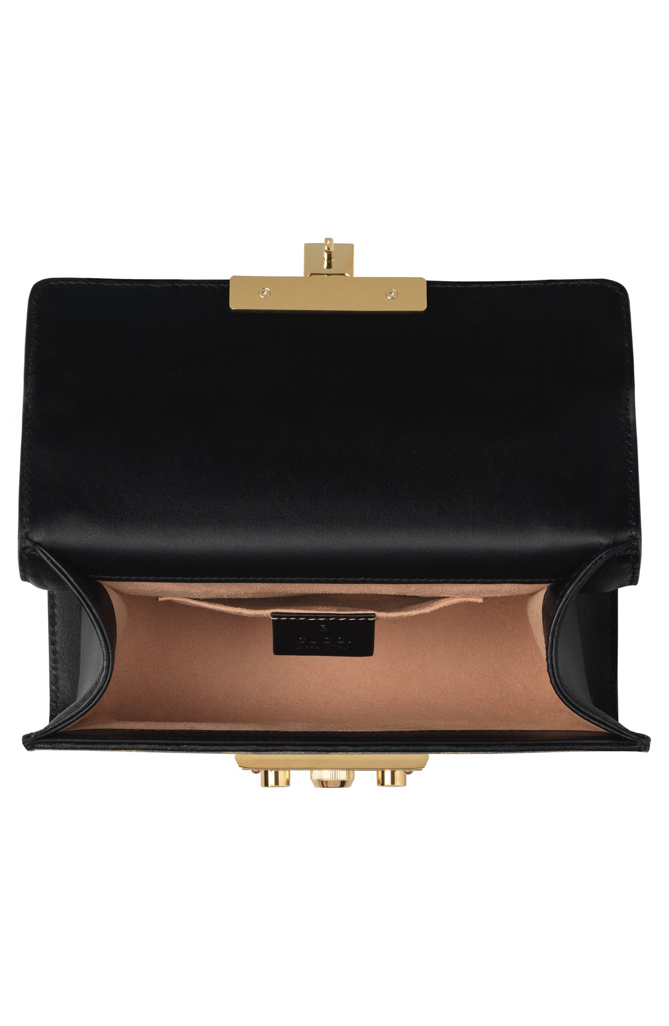 Small Padlock GG Supreme Bee Shoulder Bag,                             Alternate thumbnail 3, color,                             Beige Ebony Oro/ Nero