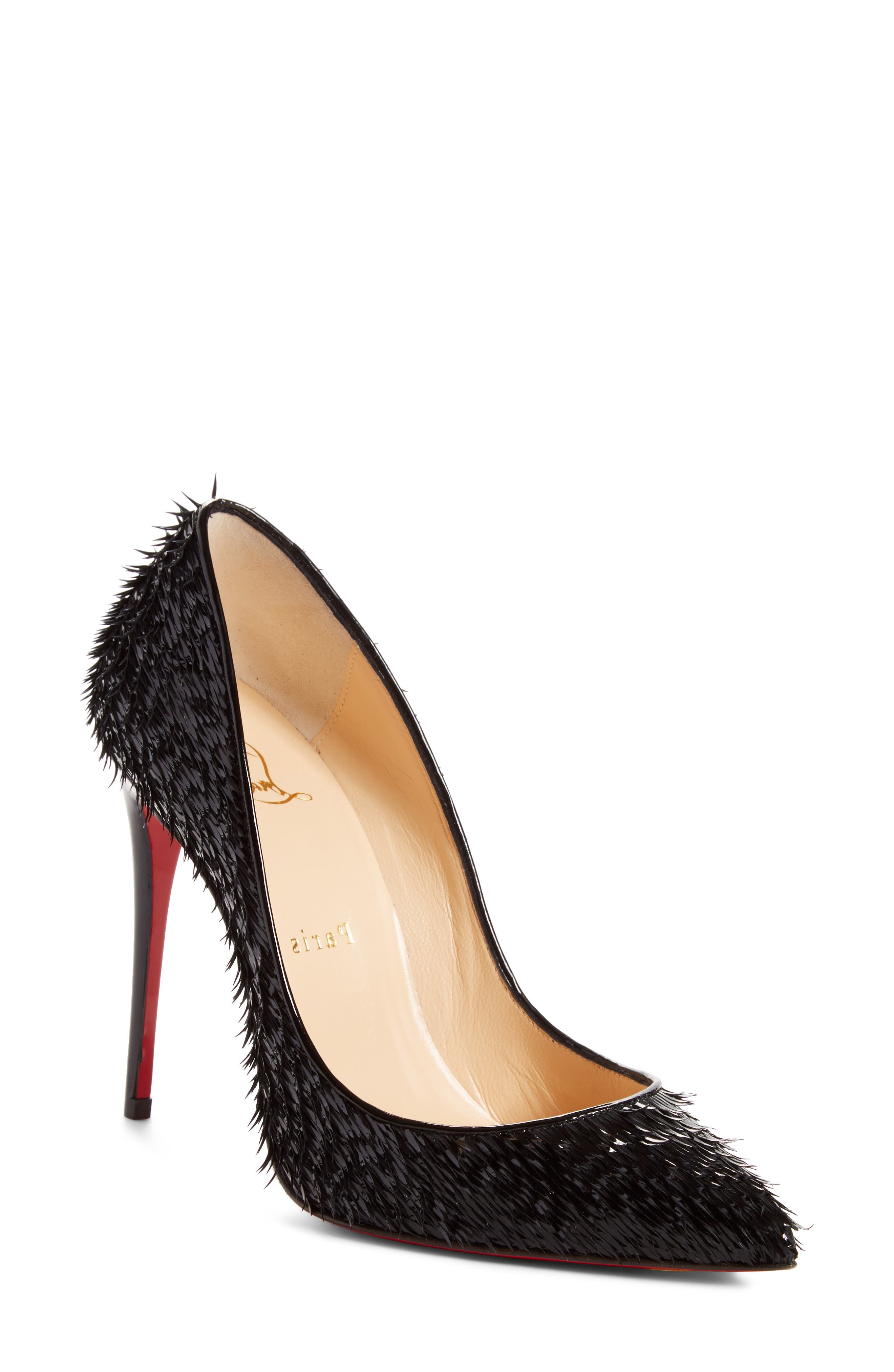 CHRISTIAN LOUBOUTIN PIGALLIE FOLLIES CROW PATENT RED SOLE PUMP, BLACK