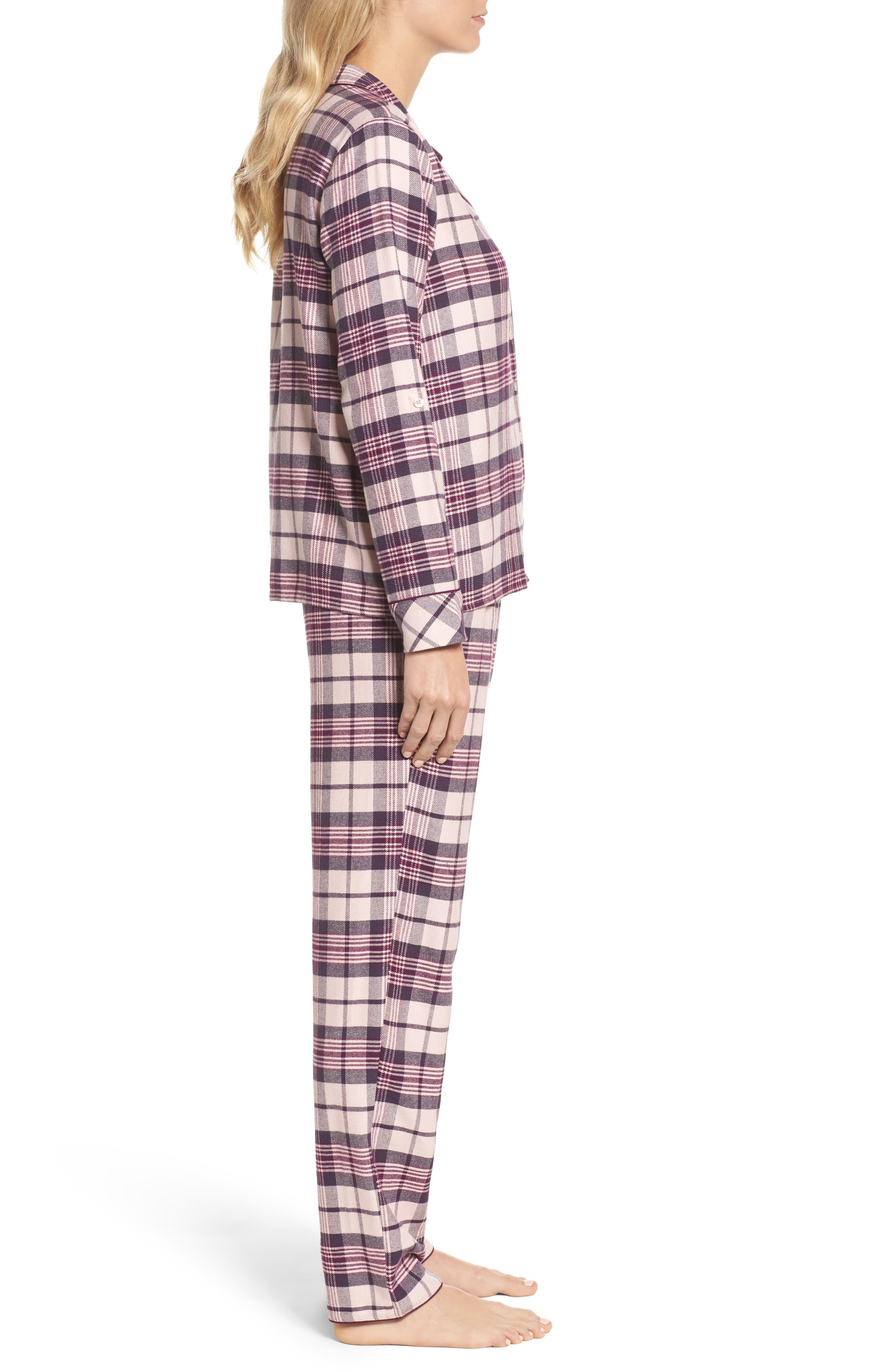 Lingerie Starlight Flannel Pajamas,                             Alternate thumbnail 3, color,                             Pink Peony Bud Tonal Tartan
