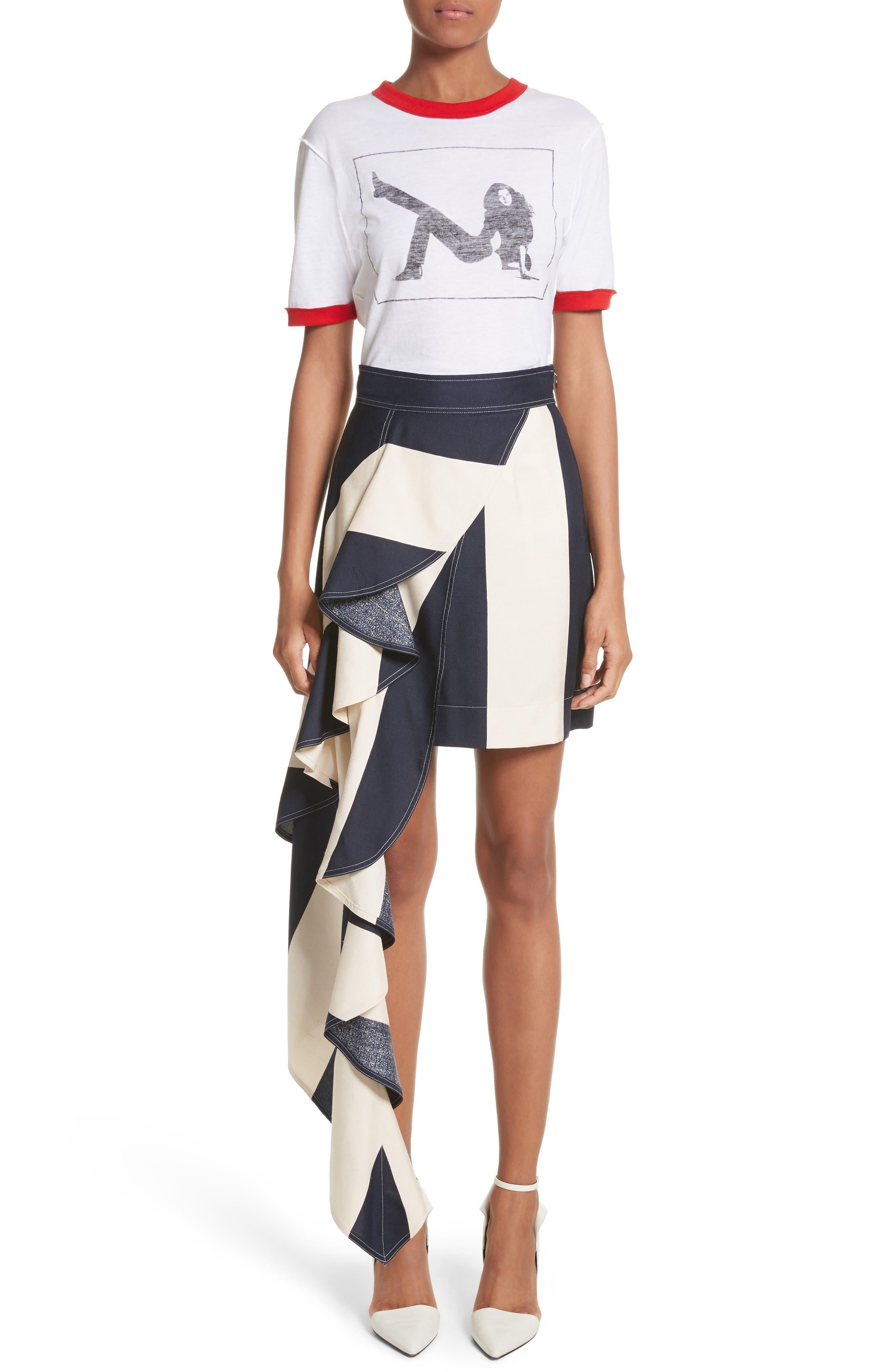 Alternate Image 8  - Calvin Klein 205W39NYC Flag Stripe Silk Shantung Drape Skirt