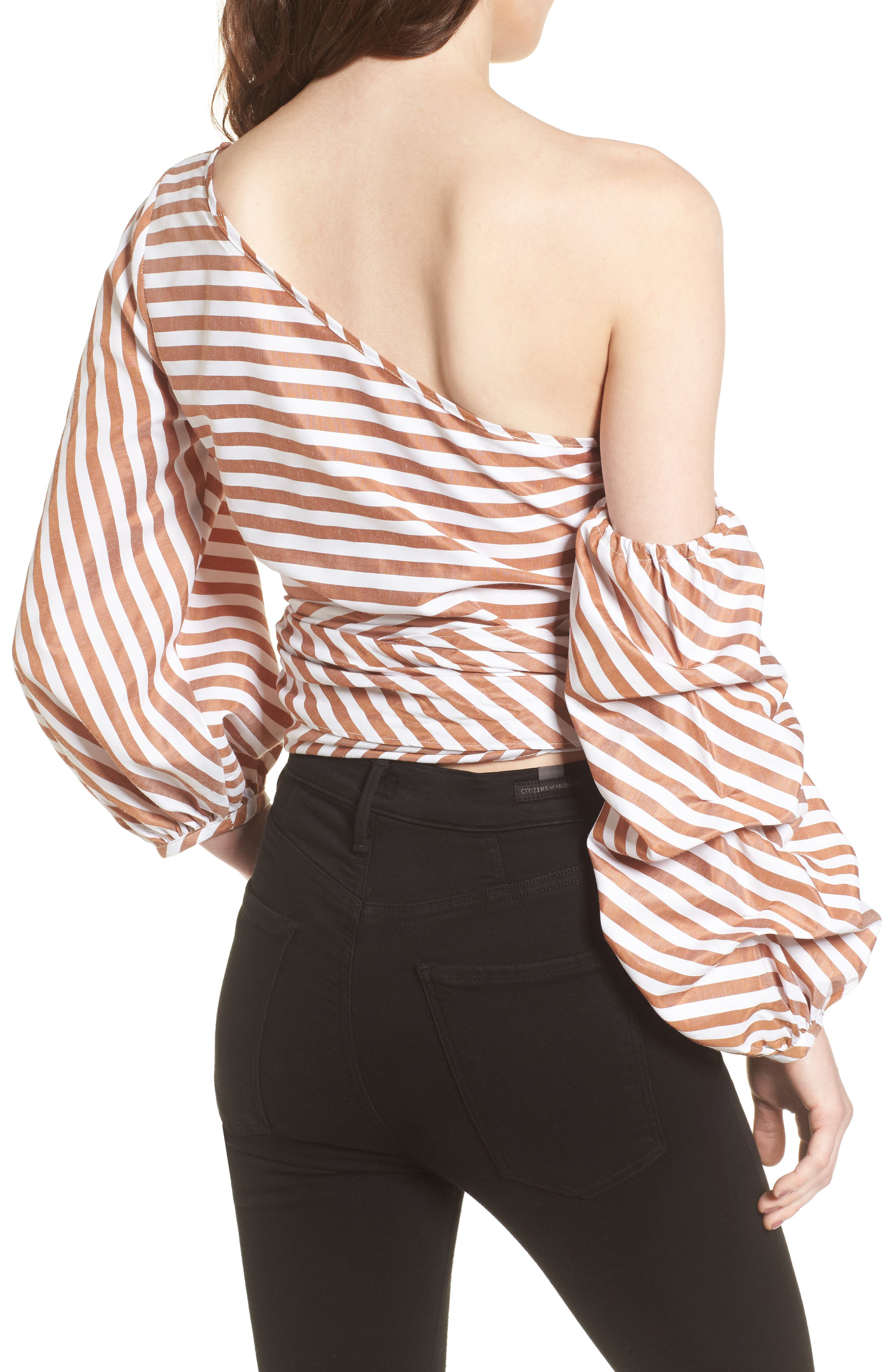 Wrap Me in Love One-Shoulder Top,                             Alternate thumbnail 2, color,                             Striped Brown