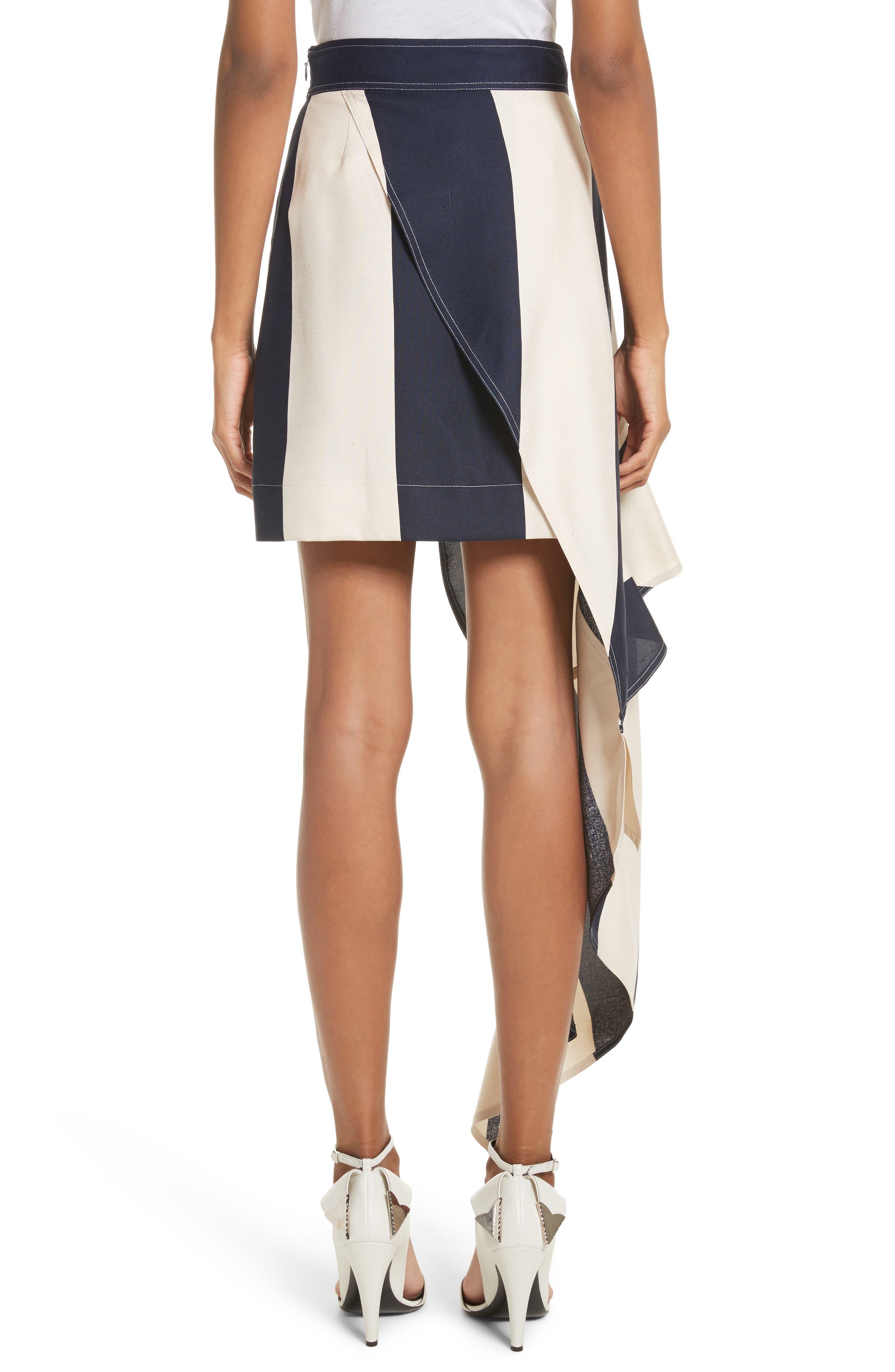 Alternate Image 3  - Calvin Klein 205W39NYC Flag Stripe Silk Shantung Drape Skirt