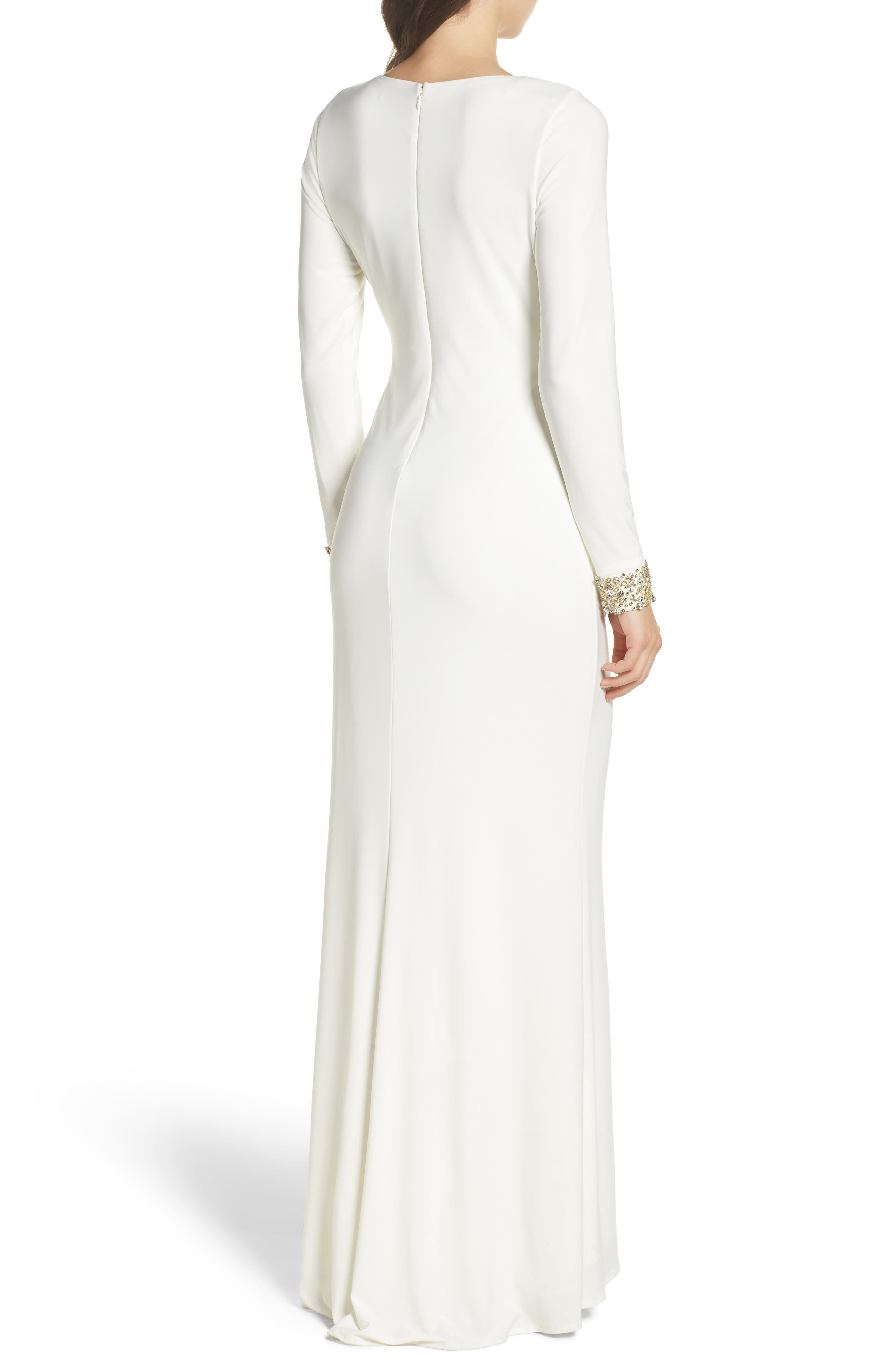 Embellished Side Tuck Jersey Gown,                             Alternate thumbnail 2, color,                             Ivory
