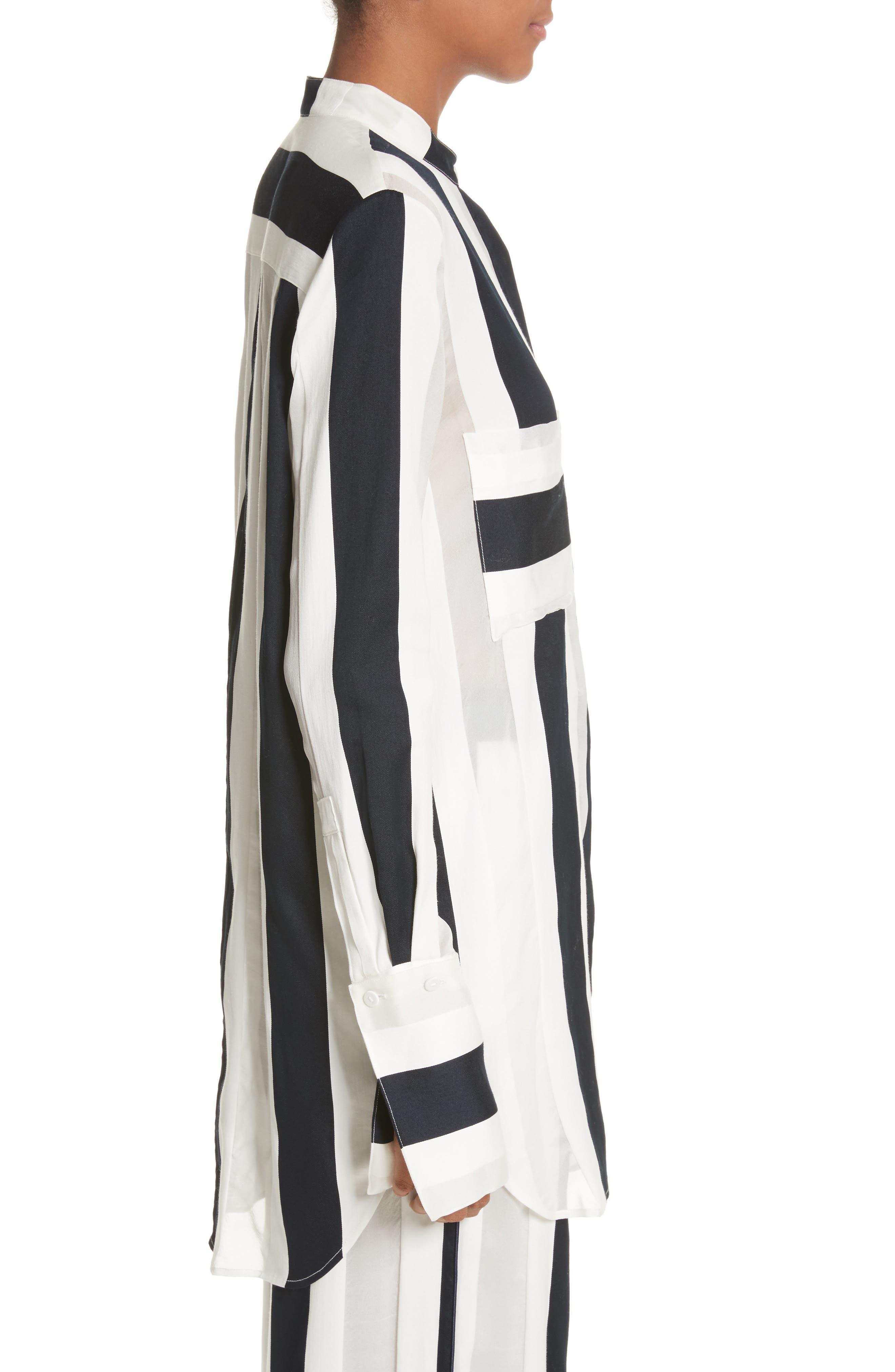 Cotton & Silk Stripe Jacquard Blouse,                             Alternate thumbnail 3, color,                             Black/ White