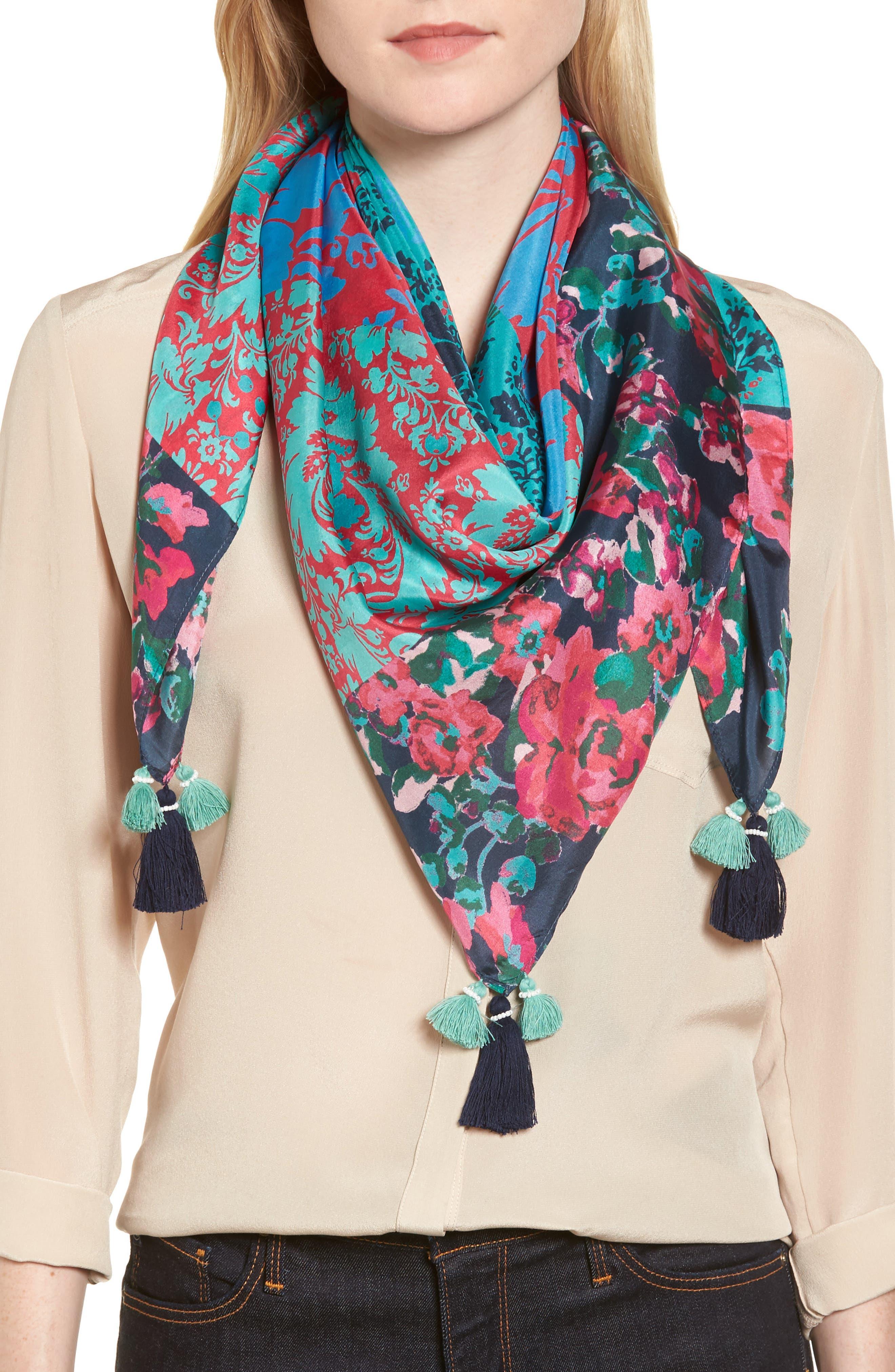 Print Square Silk Scarf,                         Main,                         color, Teal Graceful Garden Print