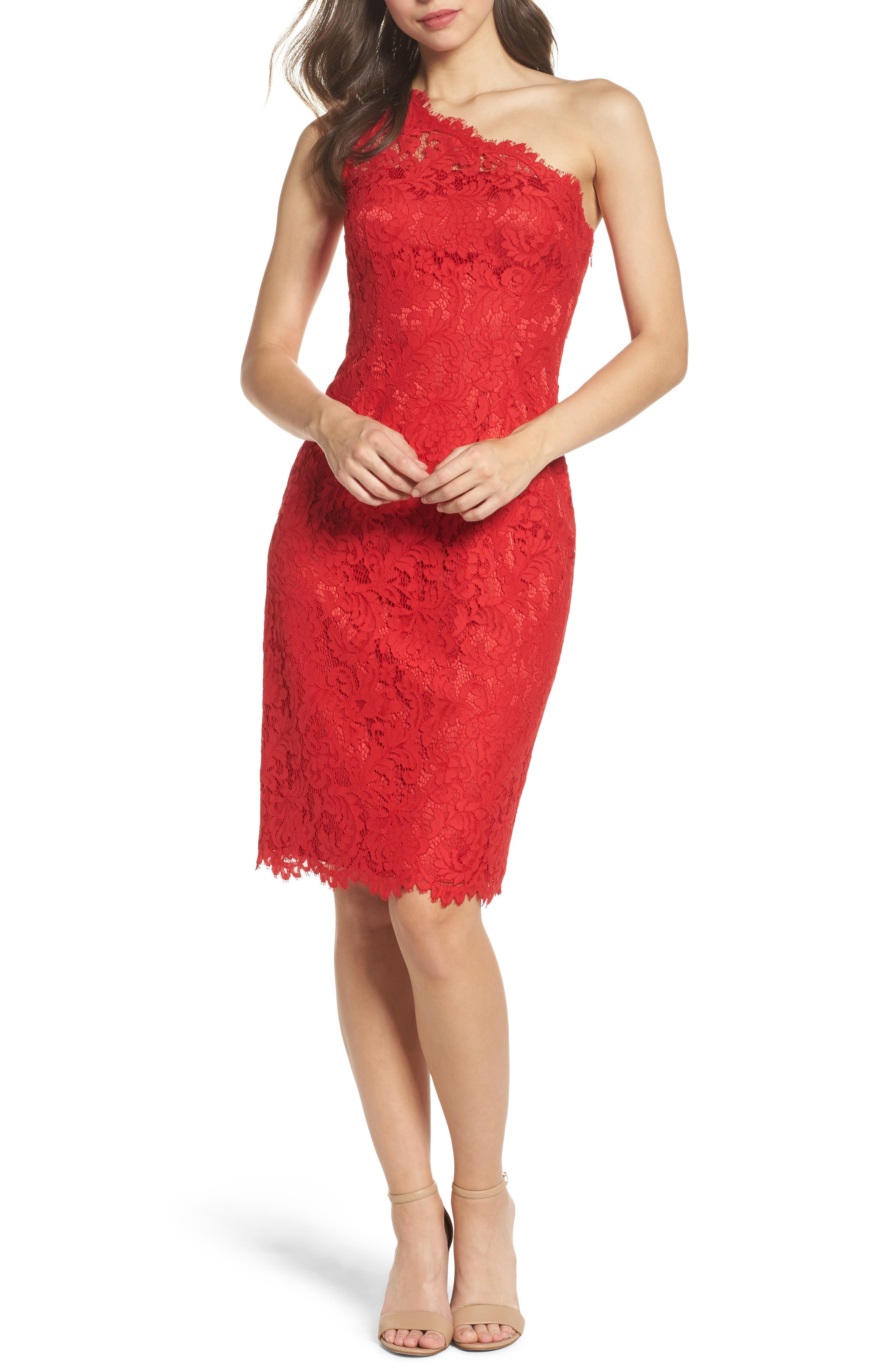 Alternate Image 1 Selected - Eliza J One-Shoulder Lace Dress (Regular & Petite)