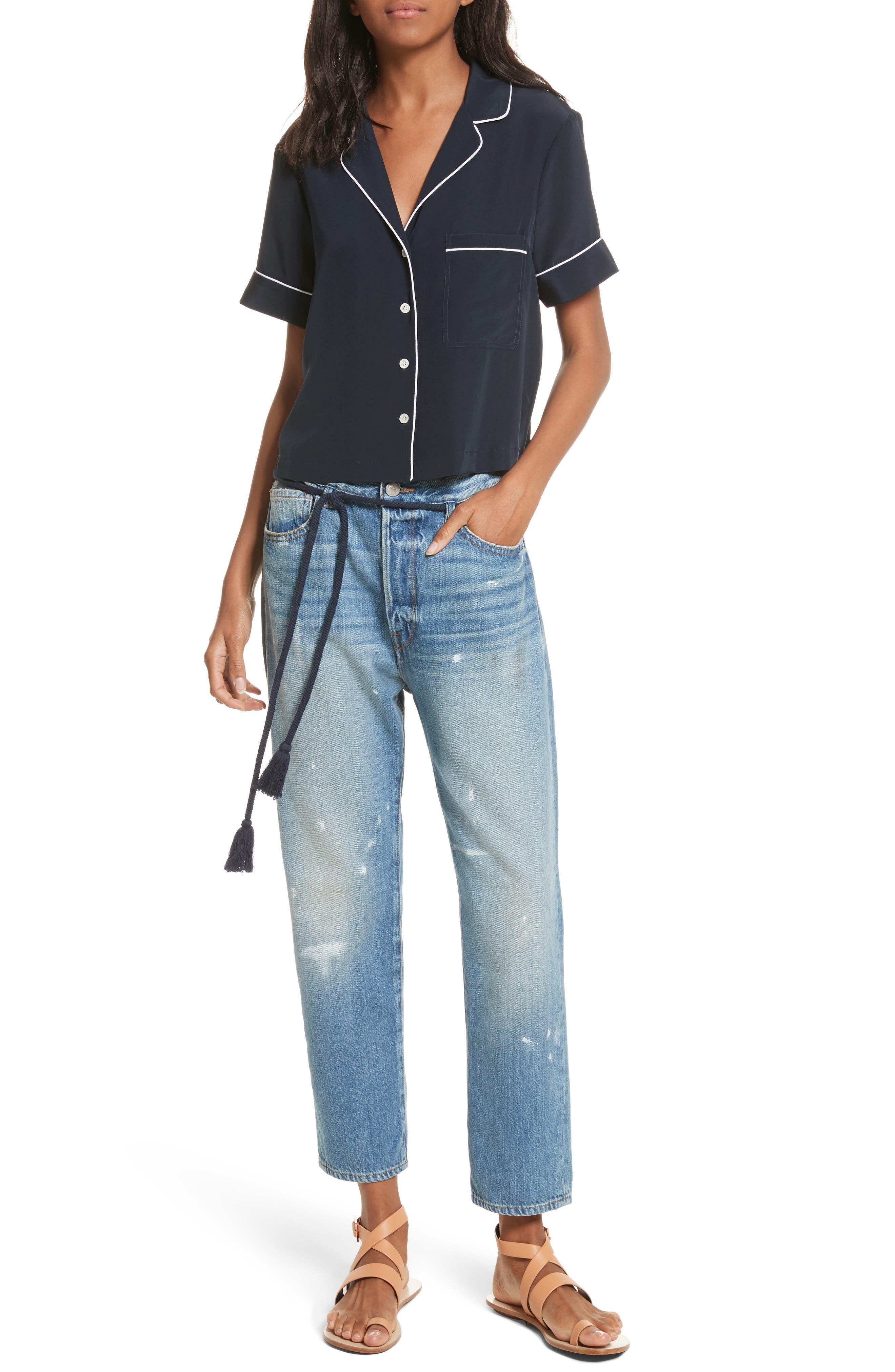 Le Original Tassel Tie High Waist Jeans,                             Alternate thumbnail 2, color,                             Bowman