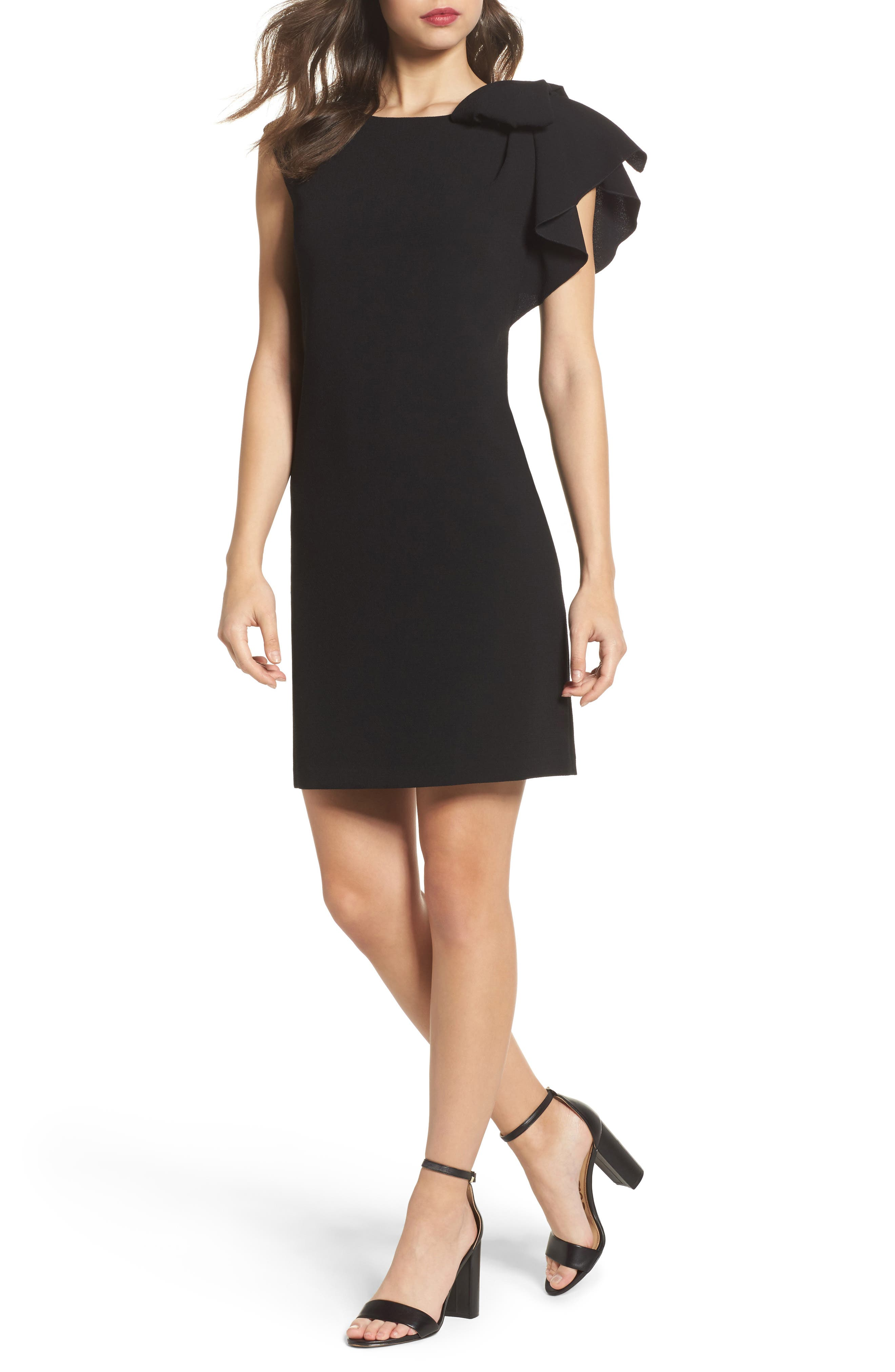 Ruffle Sleeve Shift Dress,                         Main,                         color, Black