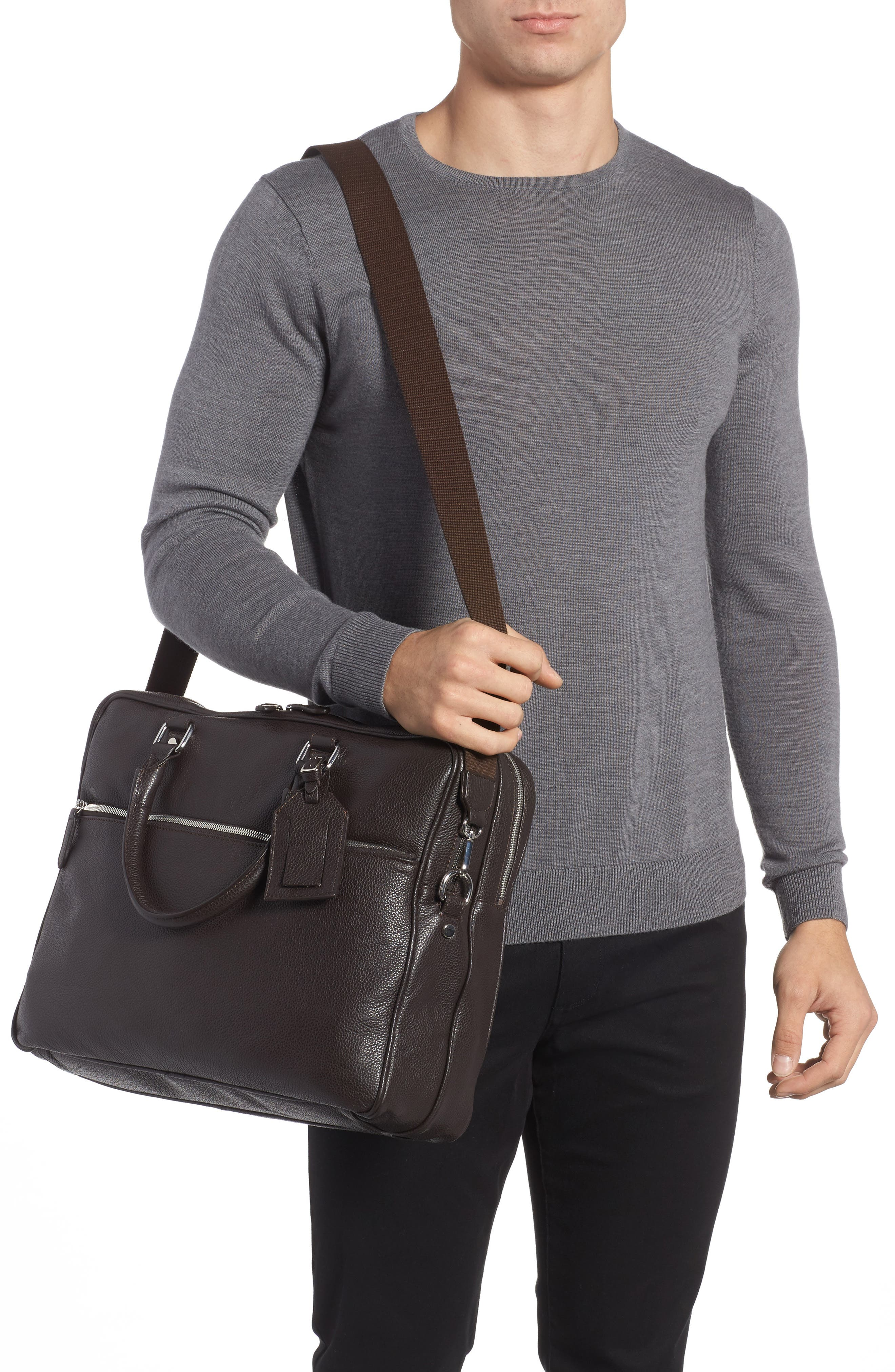 Leather Laptop Bag,                             Alternate thumbnail 2, color,                             Brown
