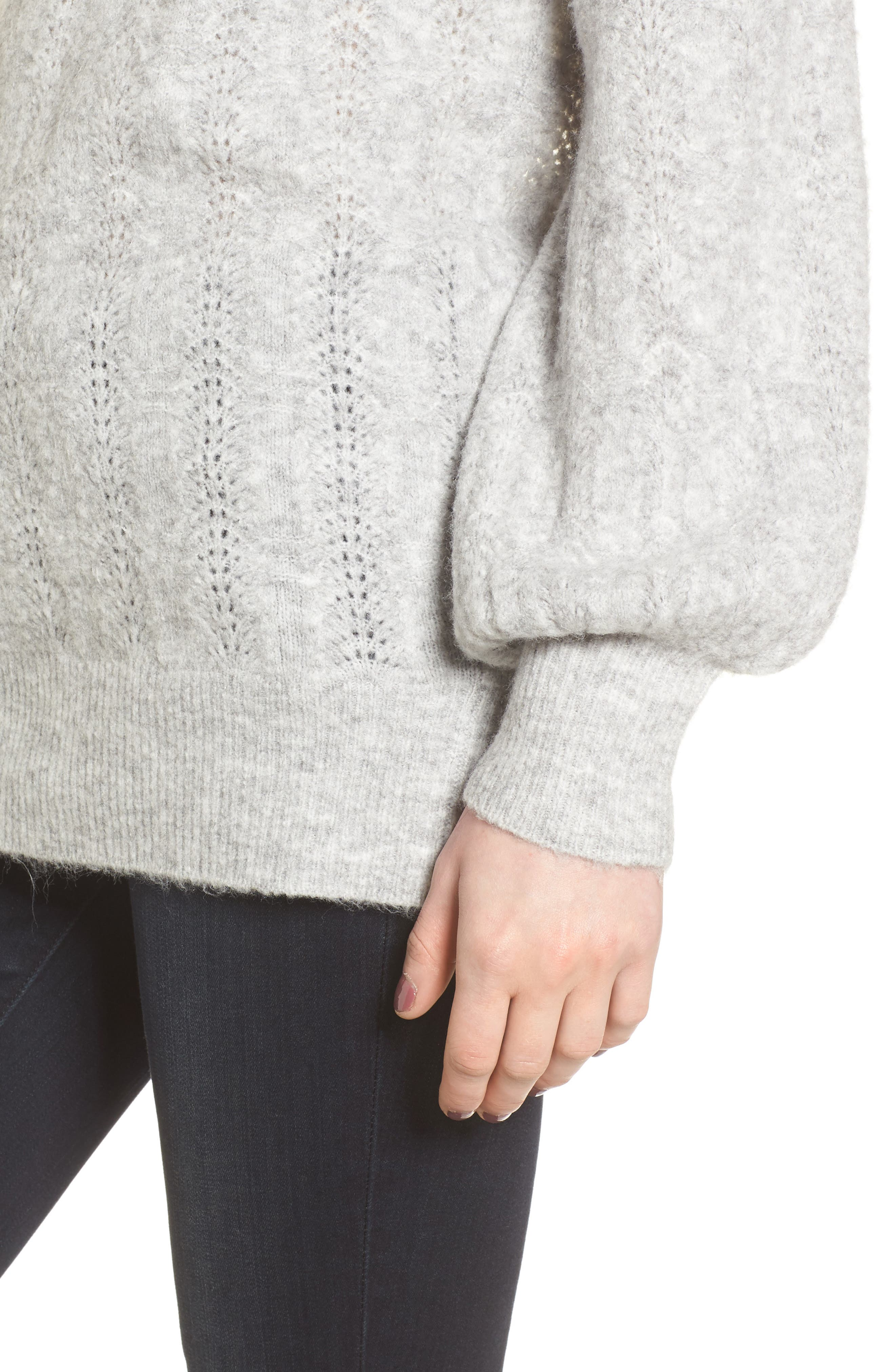 Open Back Sweater,                             Alternate thumbnail 4, color,                             Grey Heather