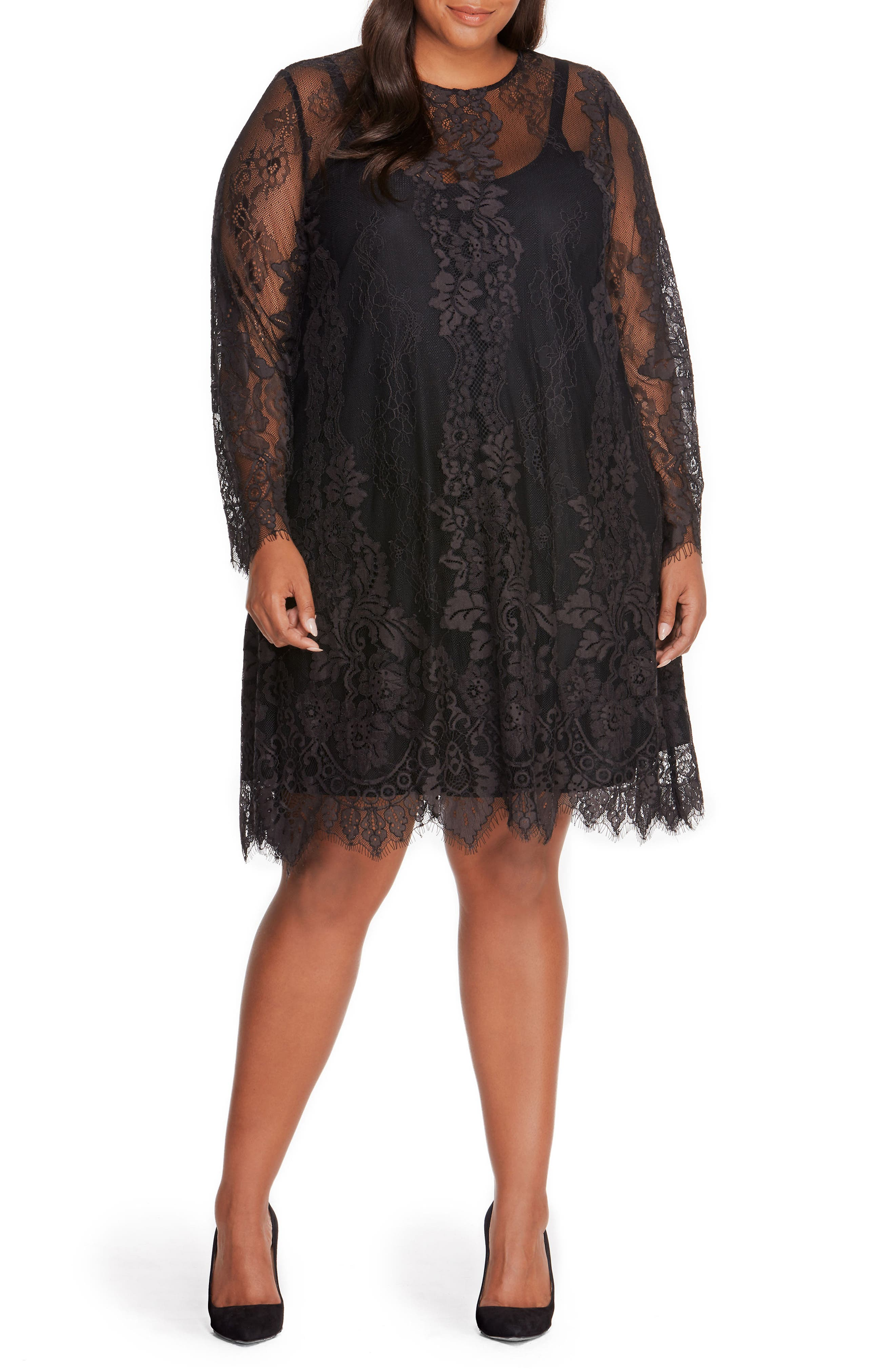 Lace Overlay Dress,                         Main,                         color, Black