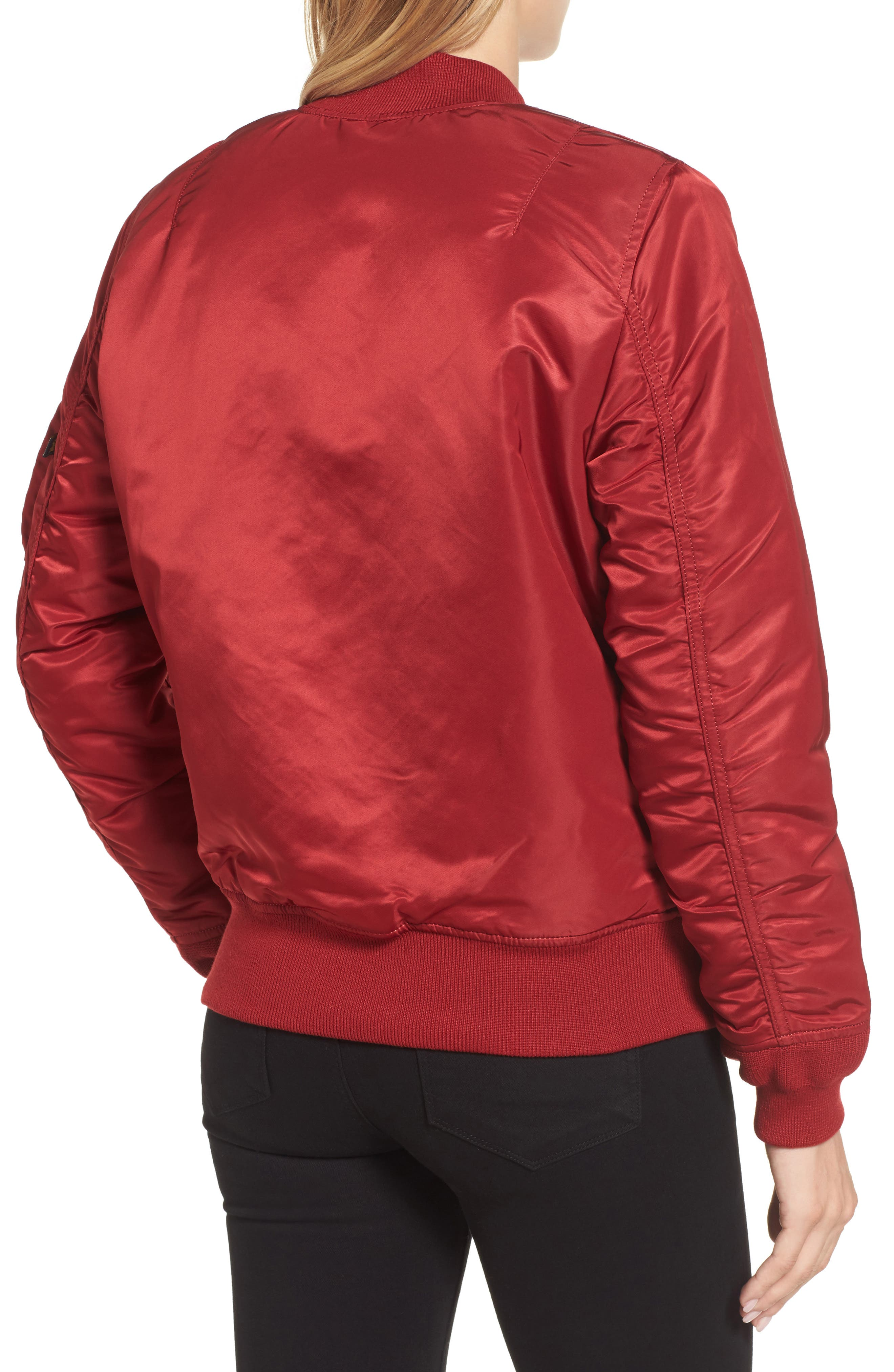 MA-1 W Bomber Jacket,                             Alternate thumbnail 2, color,                             Commander Red