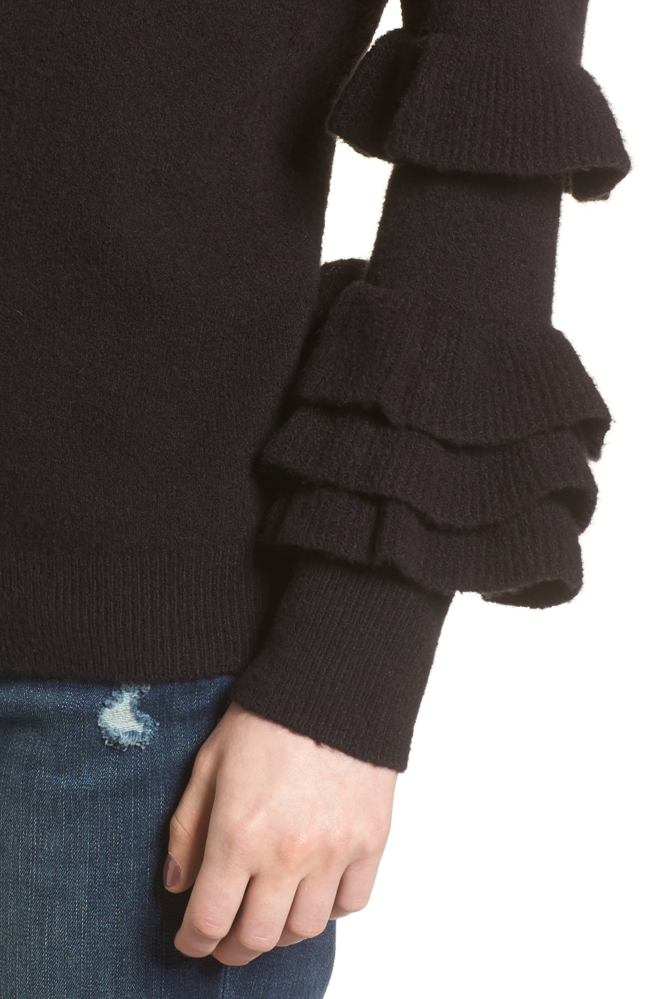Ruffle Sleeve Sweater,                             Alternate thumbnail 4, color,                             Black