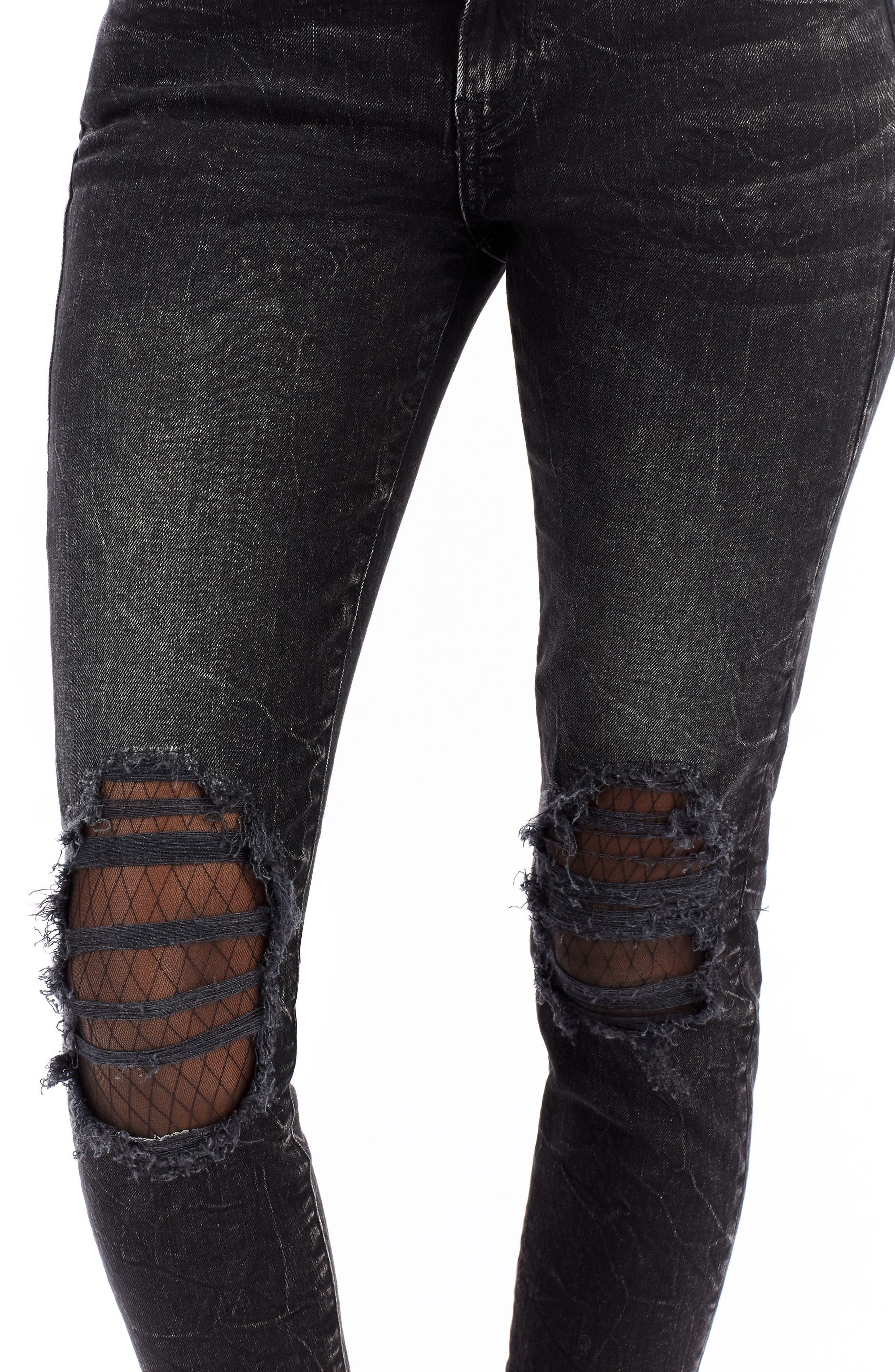 Halle Ankle Skinny Jeans,                             Alternate thumbnail 4, color,                             Raven Fever