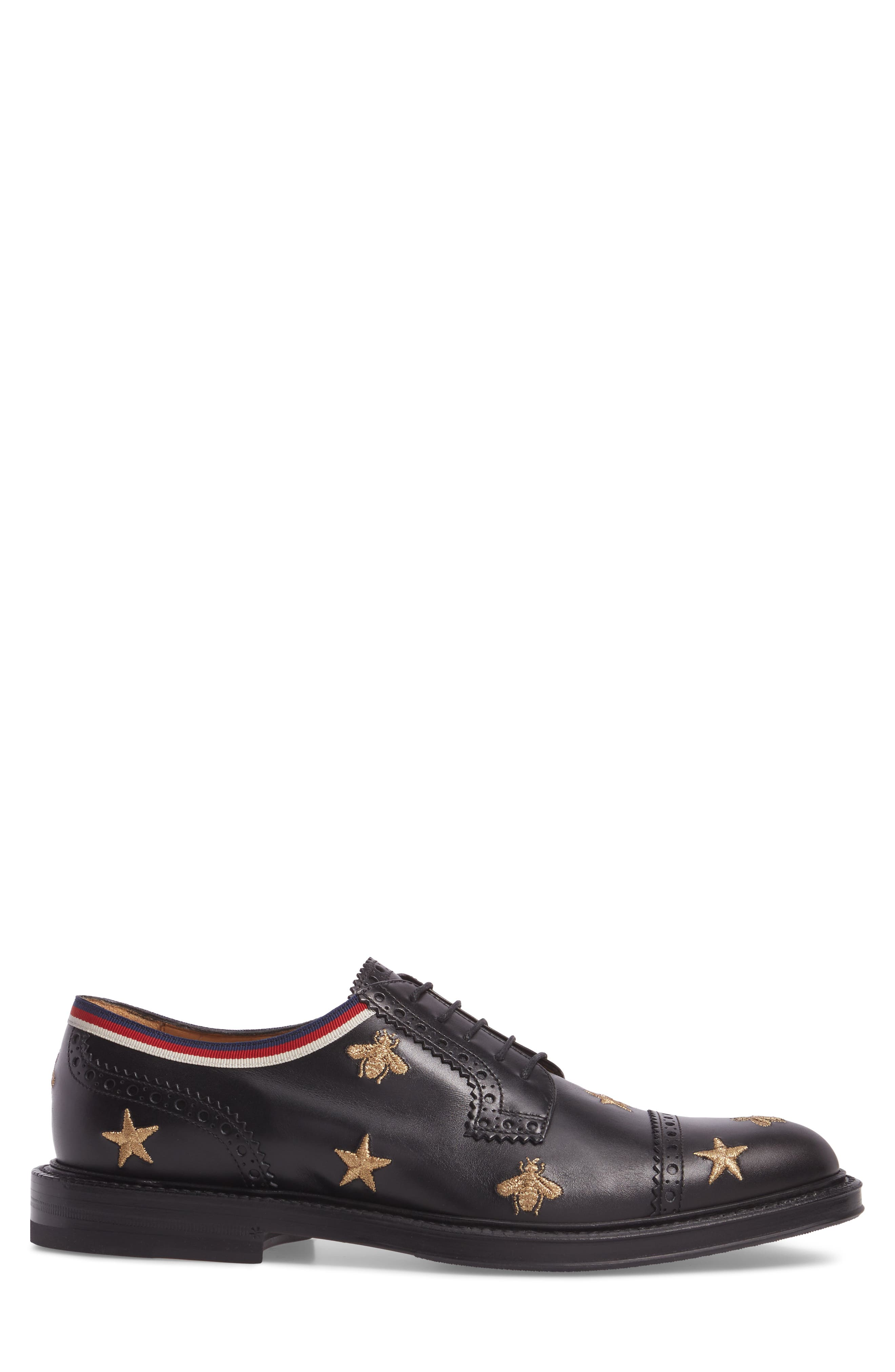 Embroidered Leather Brogue Shoe,                             Alternate thumbnail 3, color,                             Black