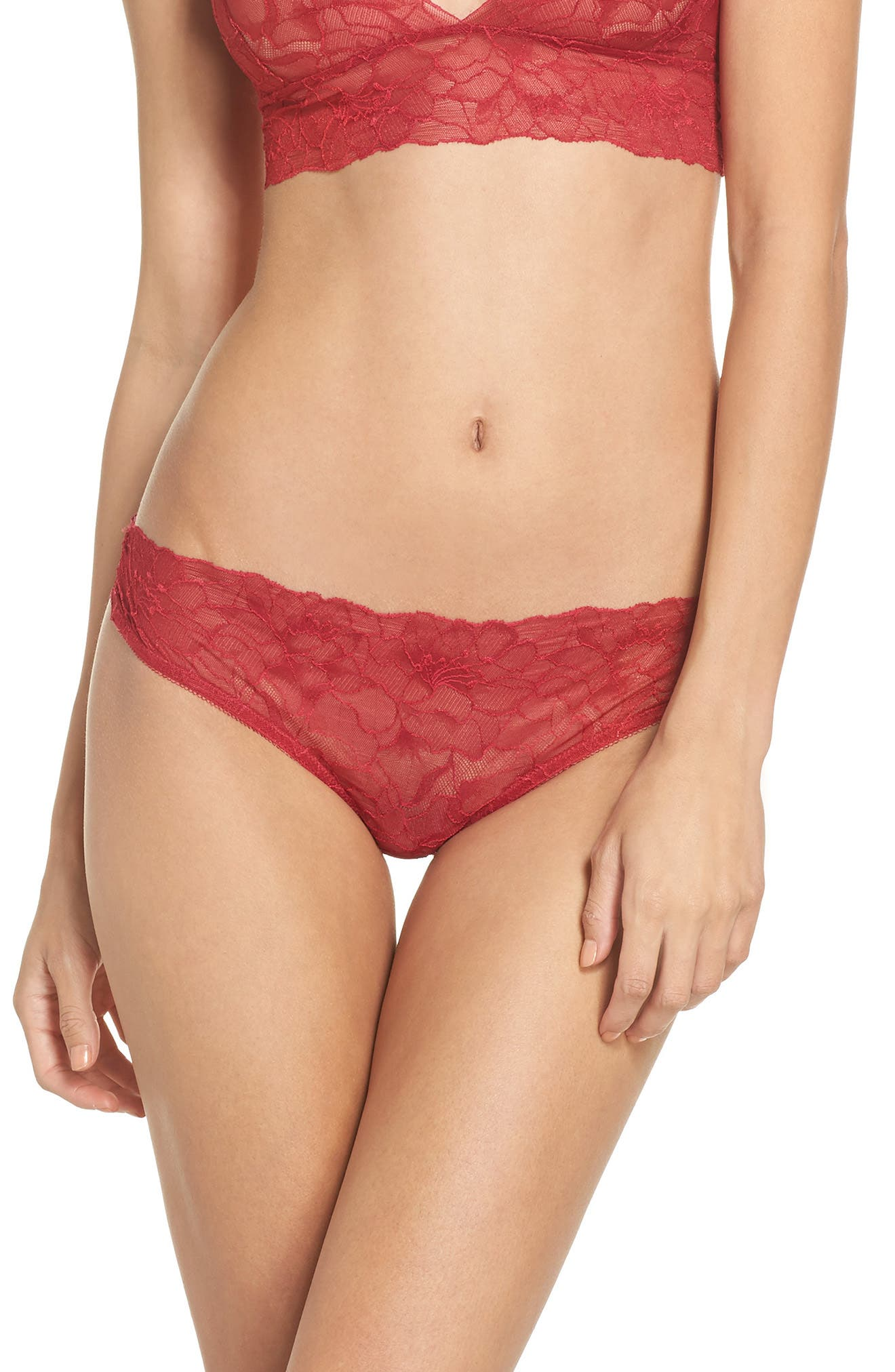 All Lace Glamour Lace Thong,                         Main,                         color, Scarlet