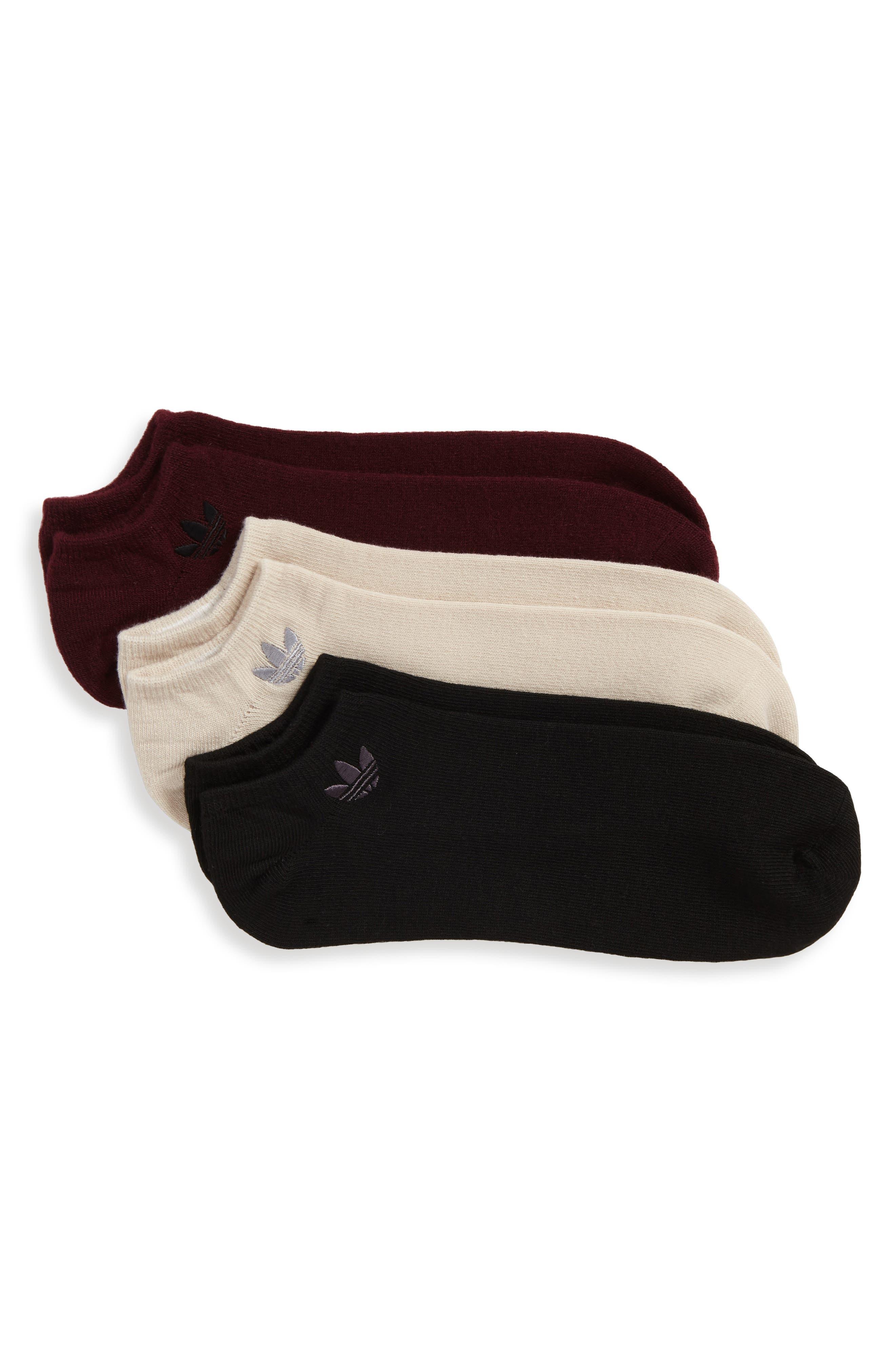 3-Pack No-Show Socks,                             Main thumbnail 1, color,                             Black/ Brown/ Maroon