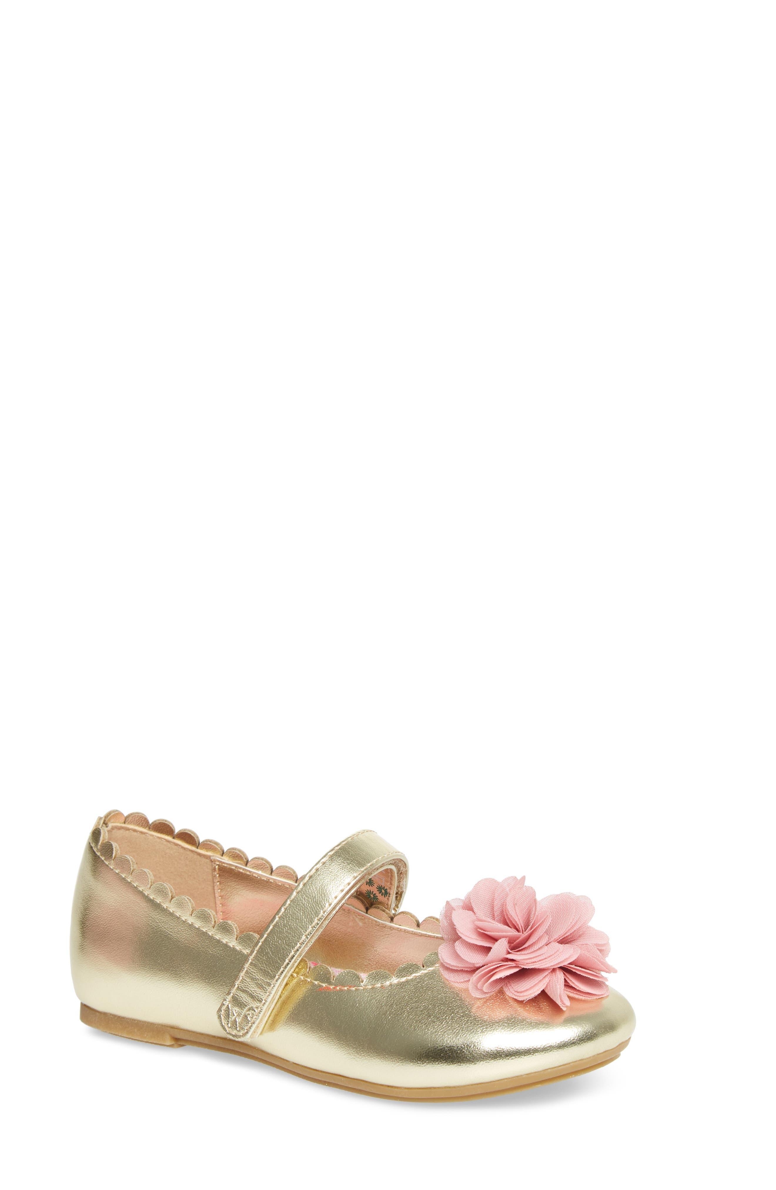 Alternate Image 1 Selected - WellieWishers from American Girl Ashlyn Flower Strap Ballet Flat (Walker & Toddler)