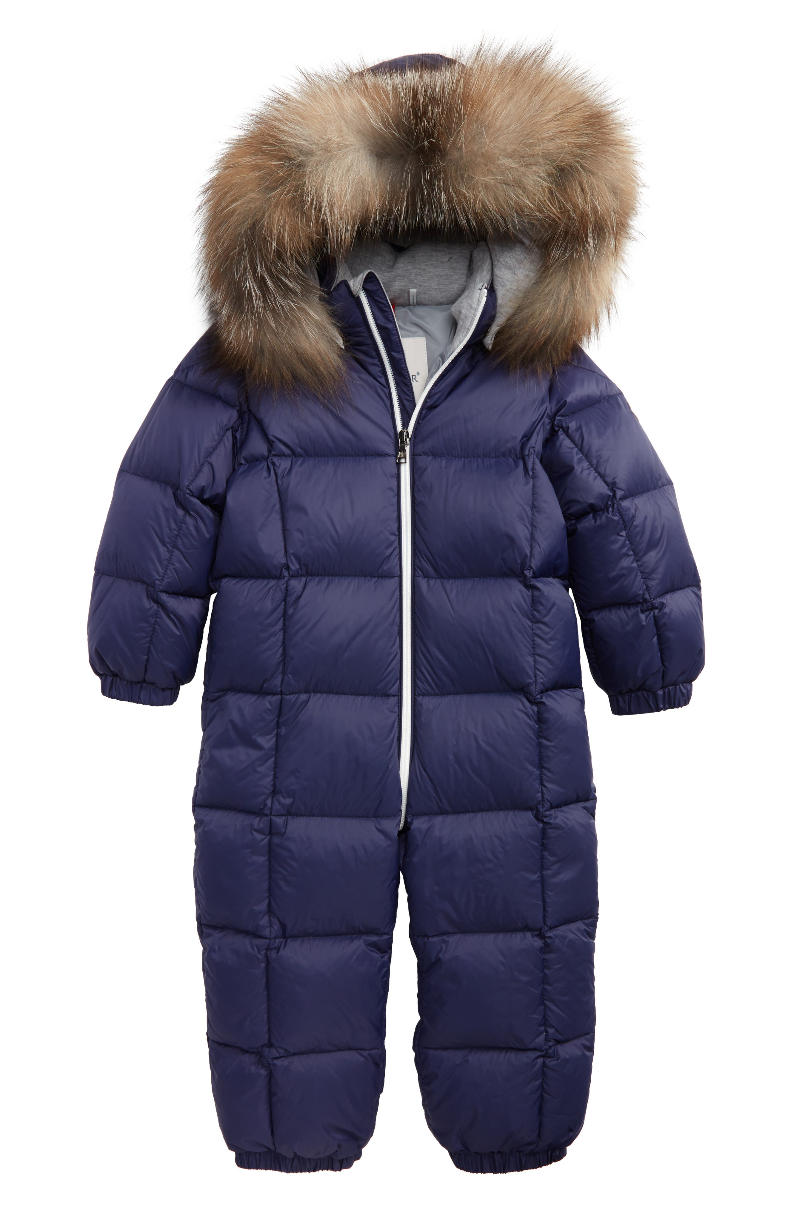 Main Image - Moncler Jean Down Bunting with Genuine Fox Fur Trim (Baby & Toddler)
