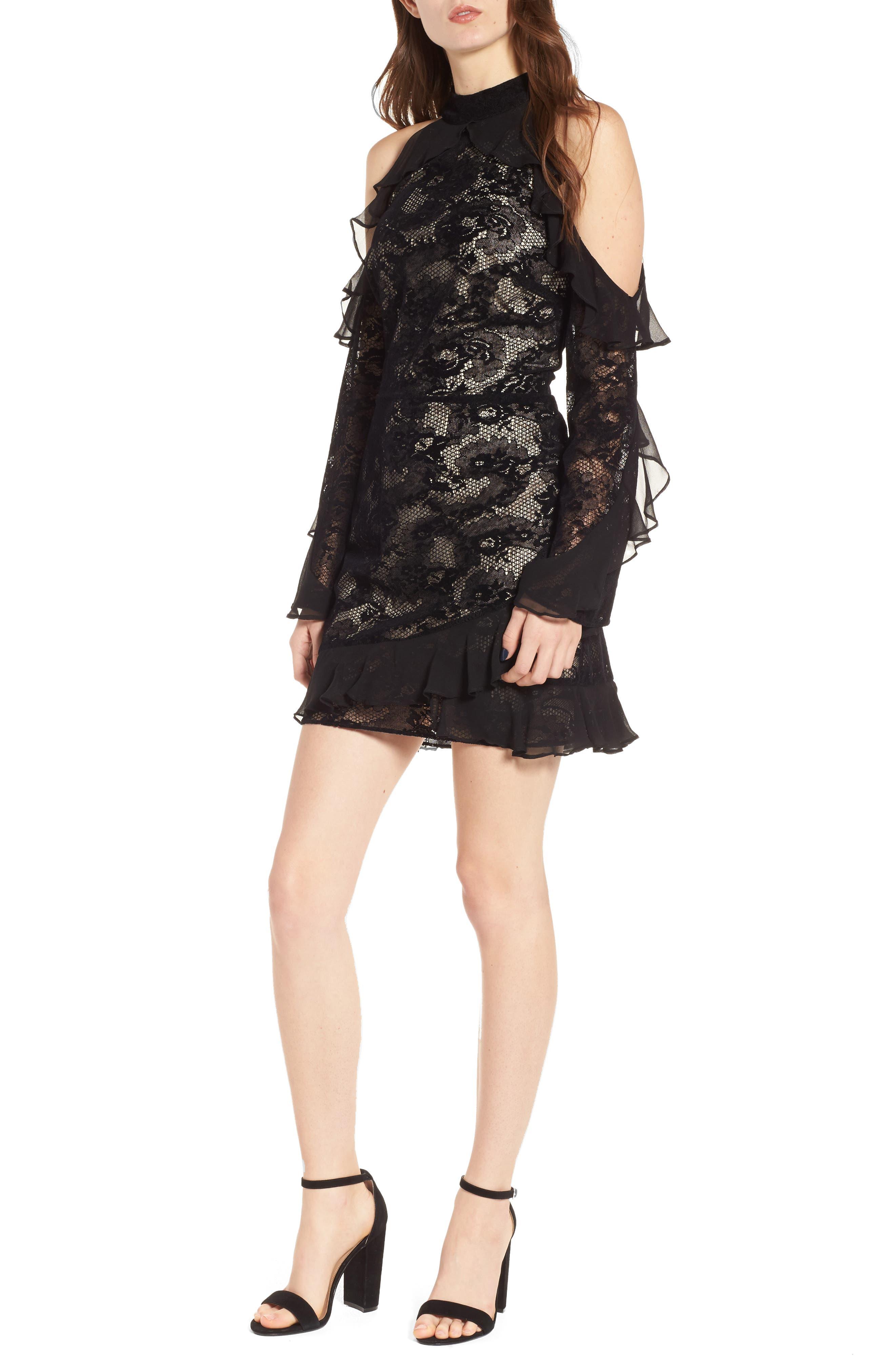 Skyler Cold Shoulder Dress,                         Main,                         color, Black