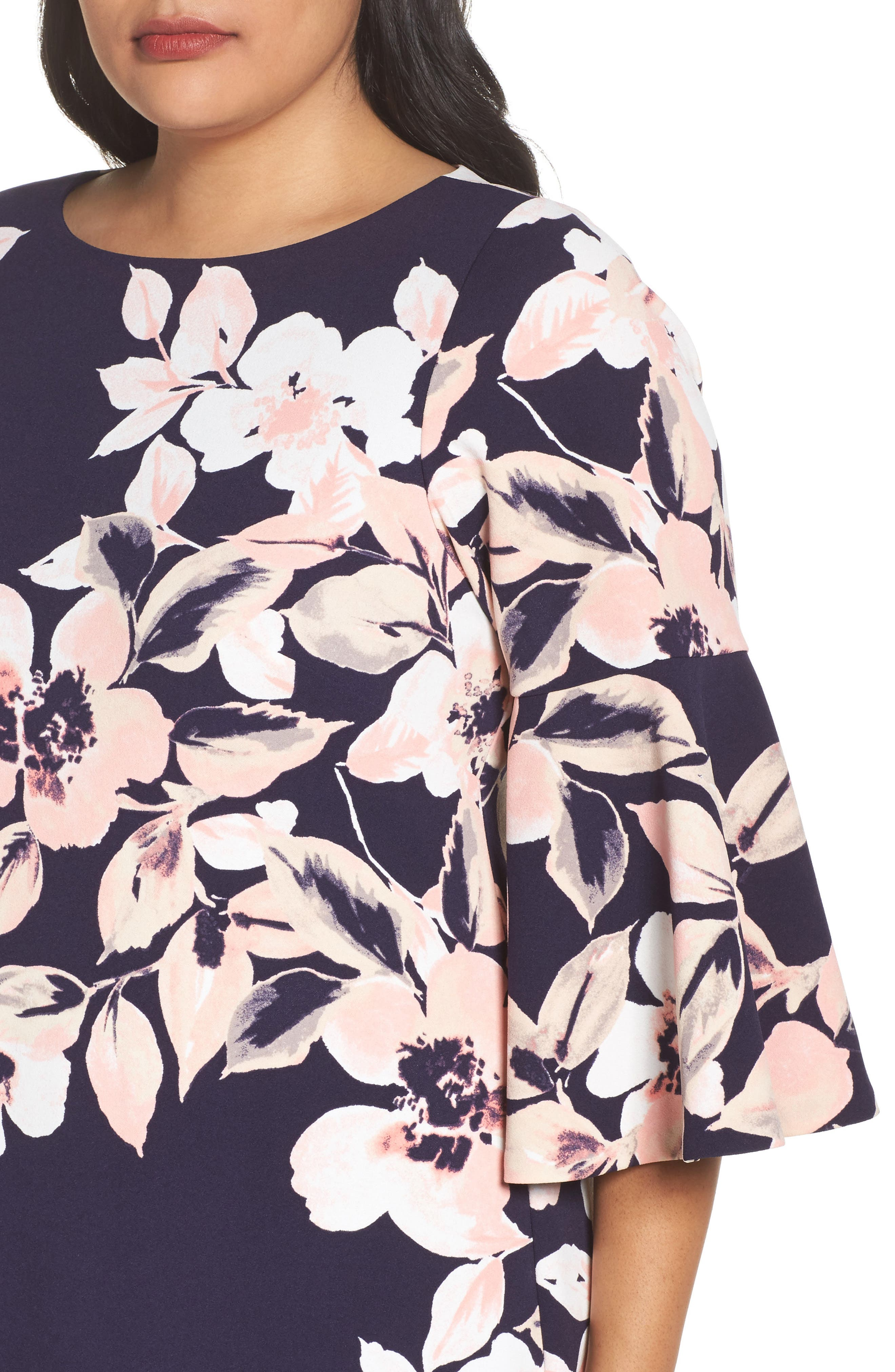 Alternate Image 5  - Eliza J Bell Cuff Floral Shift Dress (Plus Size)