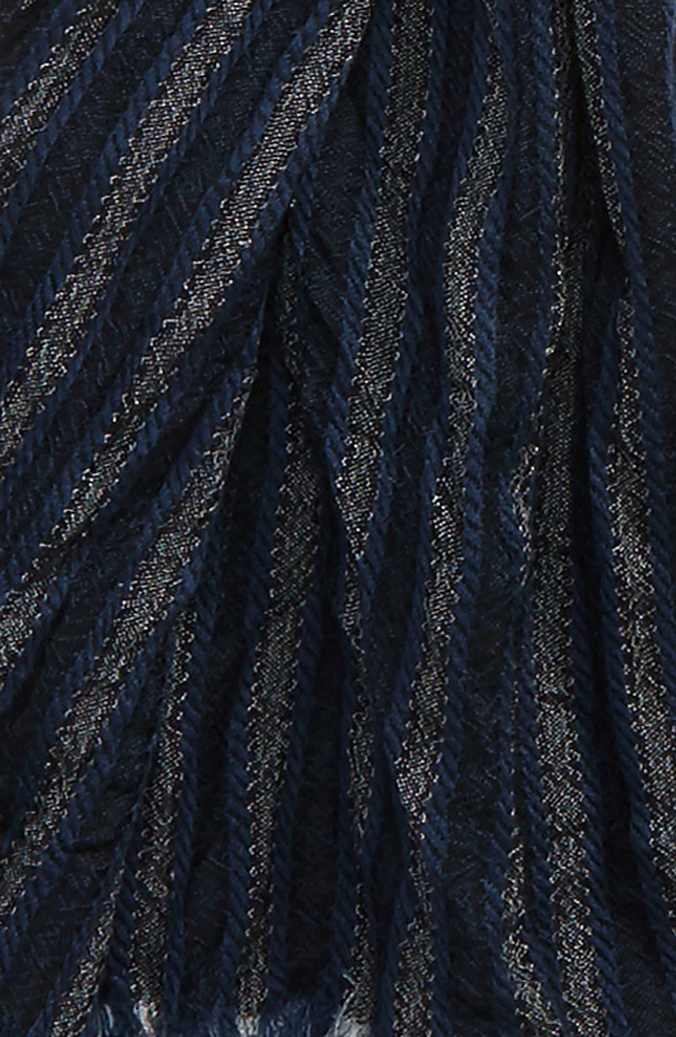 Crinkle Stripe Wool Scarf,                             Alternate thumbnail 3, color,                             Midnight Navy