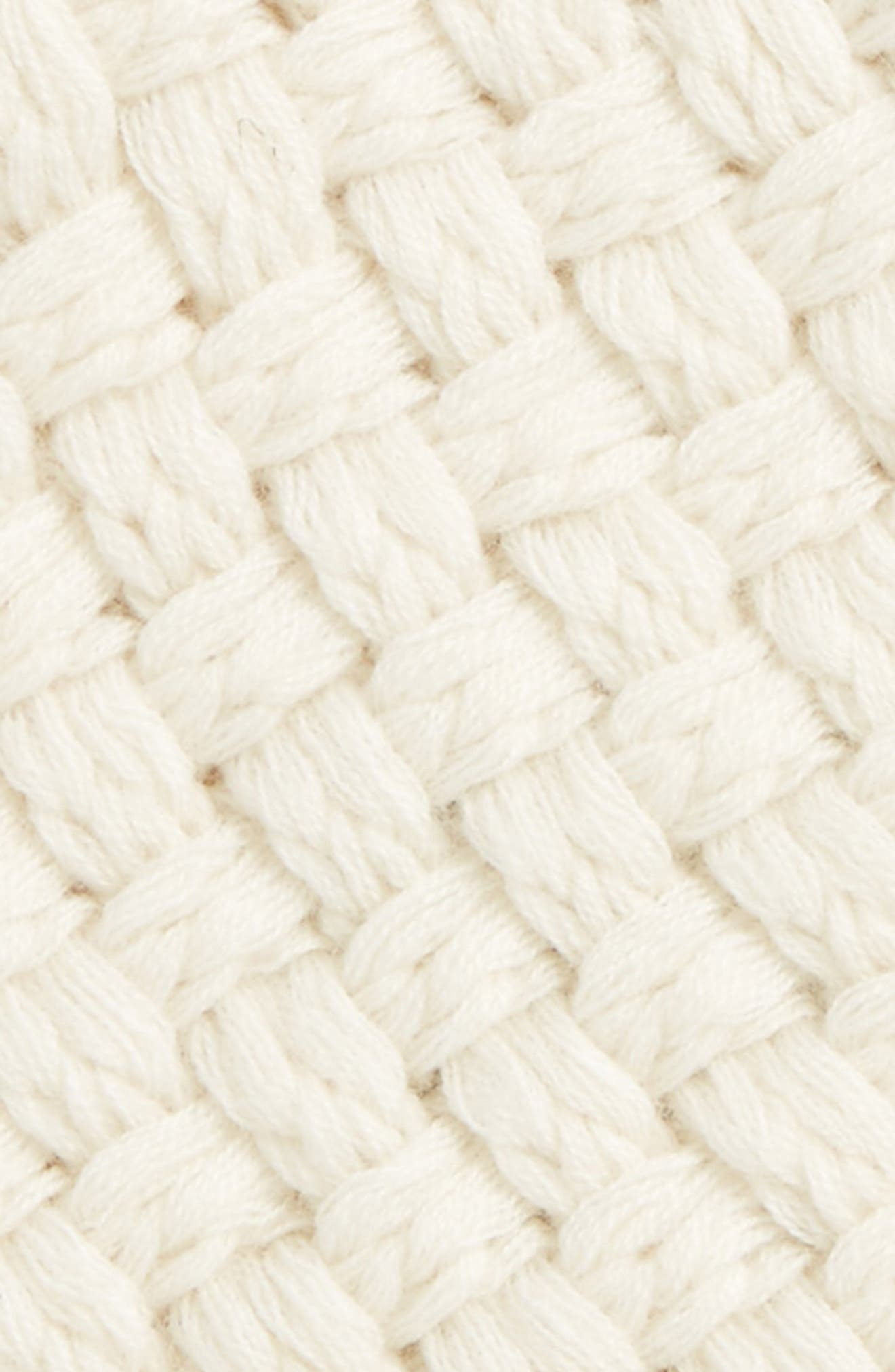 Merino Wool Basket Stitch Beanie,                             Alternate thumbnail 2, color,                             Ivory