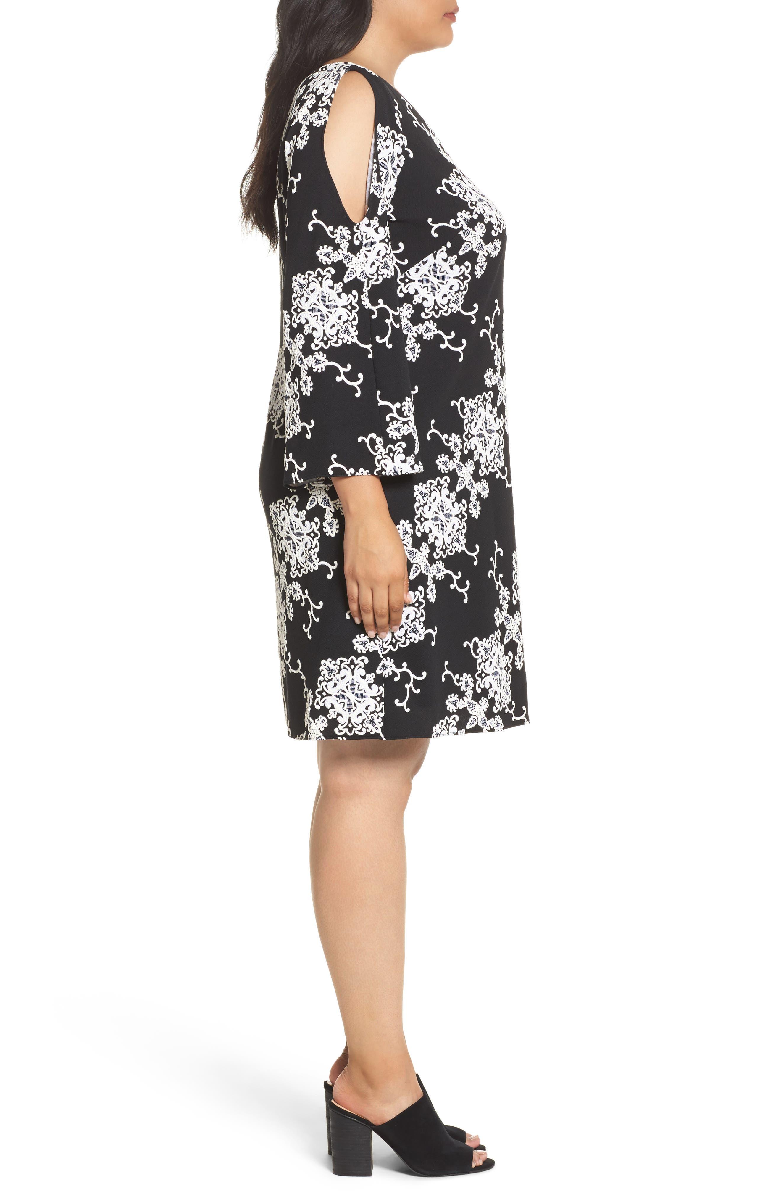 Split Sleeve Shift Dress,                             Alternate thumbnail 3, color,                             Black/ Ivory