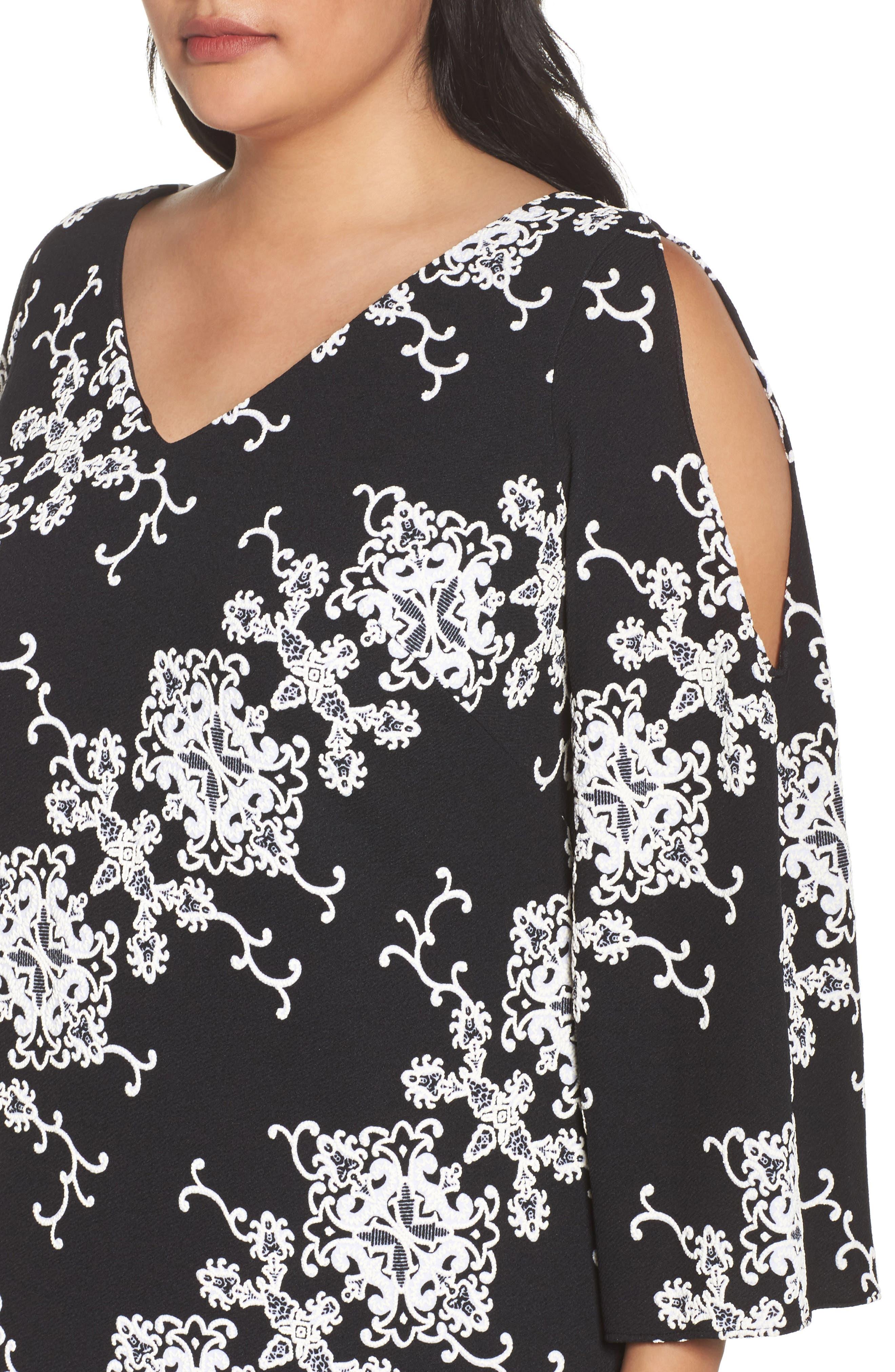 Split Sleeve Shift Dress,                             Alternate thumbnail 4, color,                             Black/ Ivory