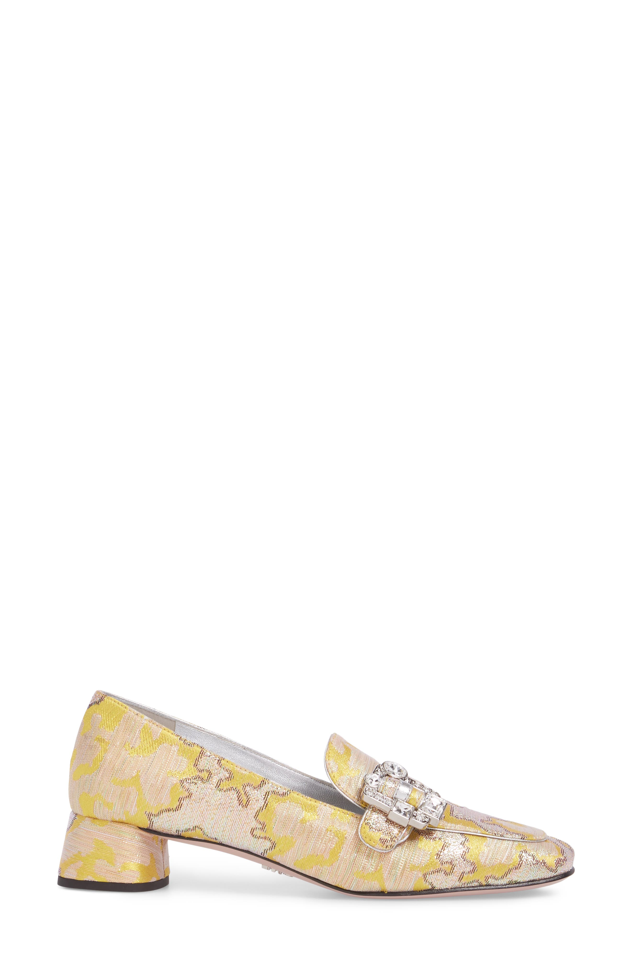 Brooch Loafer Pump,                             Alternate thumbnail 3, color,                             Giallo